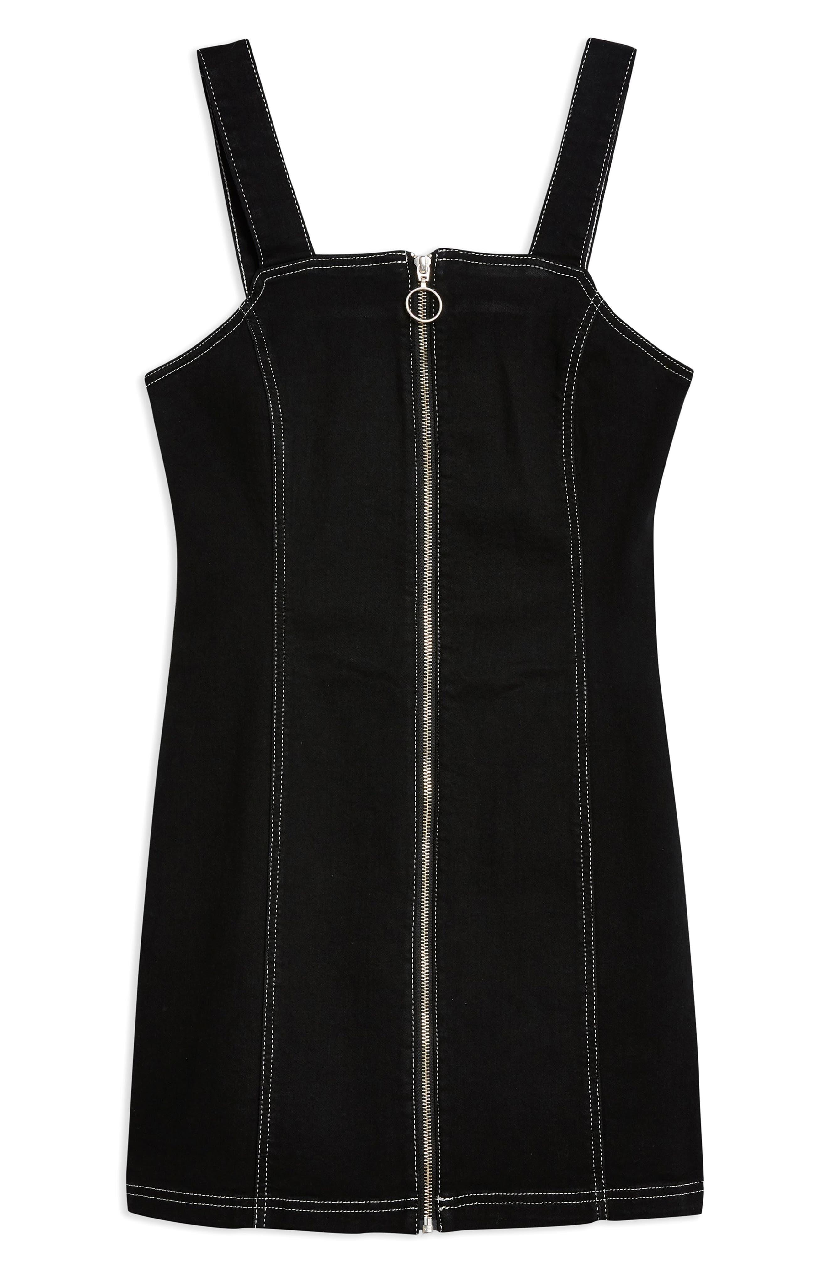 TOPSHOP,                             Stretch Denim Zip Dress,                             Alternate thumbnail 4, color,                             WASHED BLACK