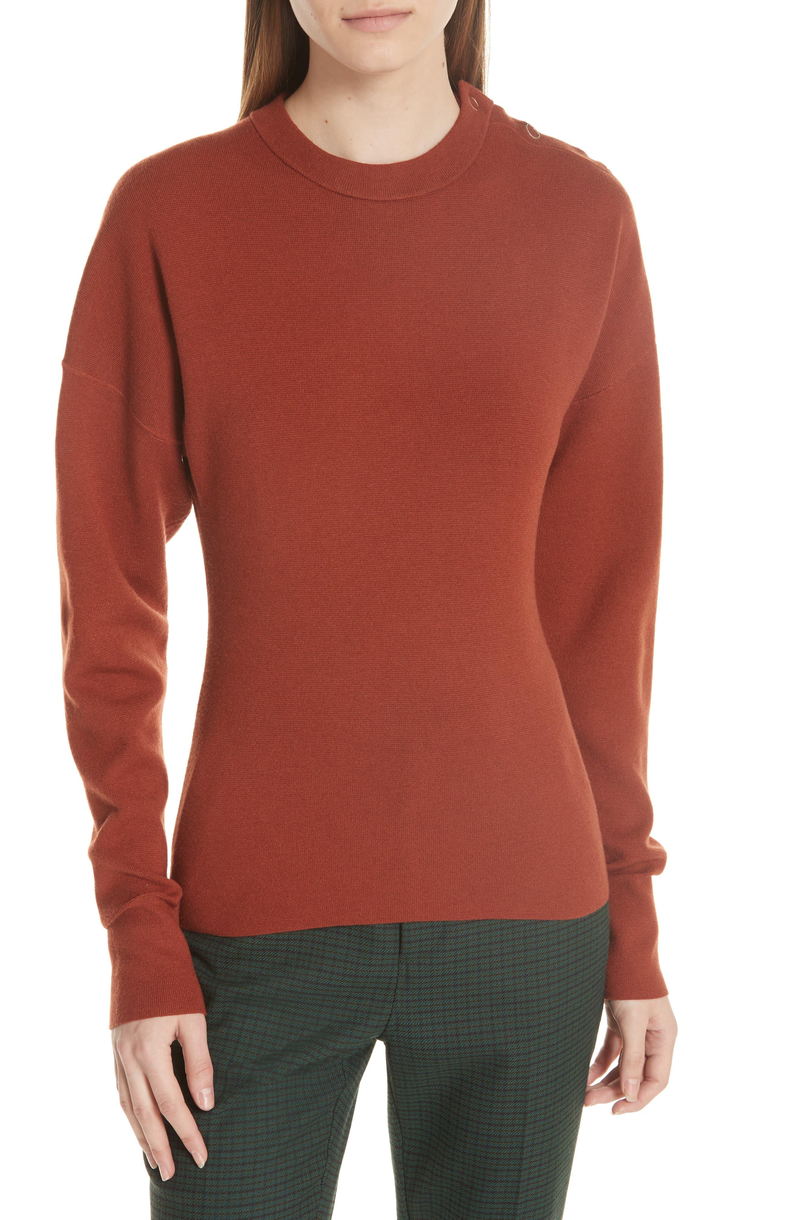 GREY JASON WU Snap Shoulder Sweater in Rust