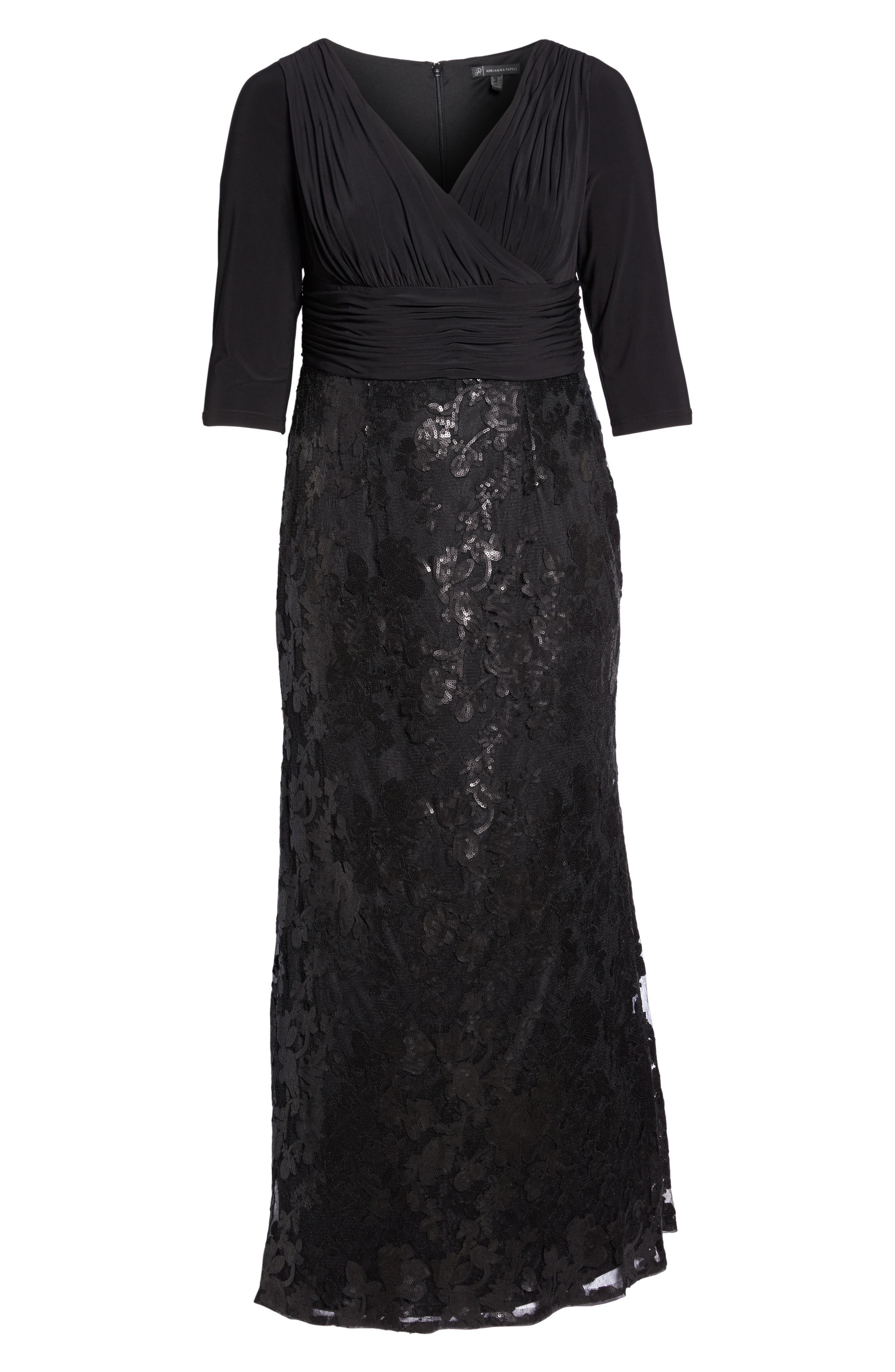 ADRIANNA PAPELL,                             Jersey & Sequin Lace Gown,                             Alternate thumbnail 6, color,                             002