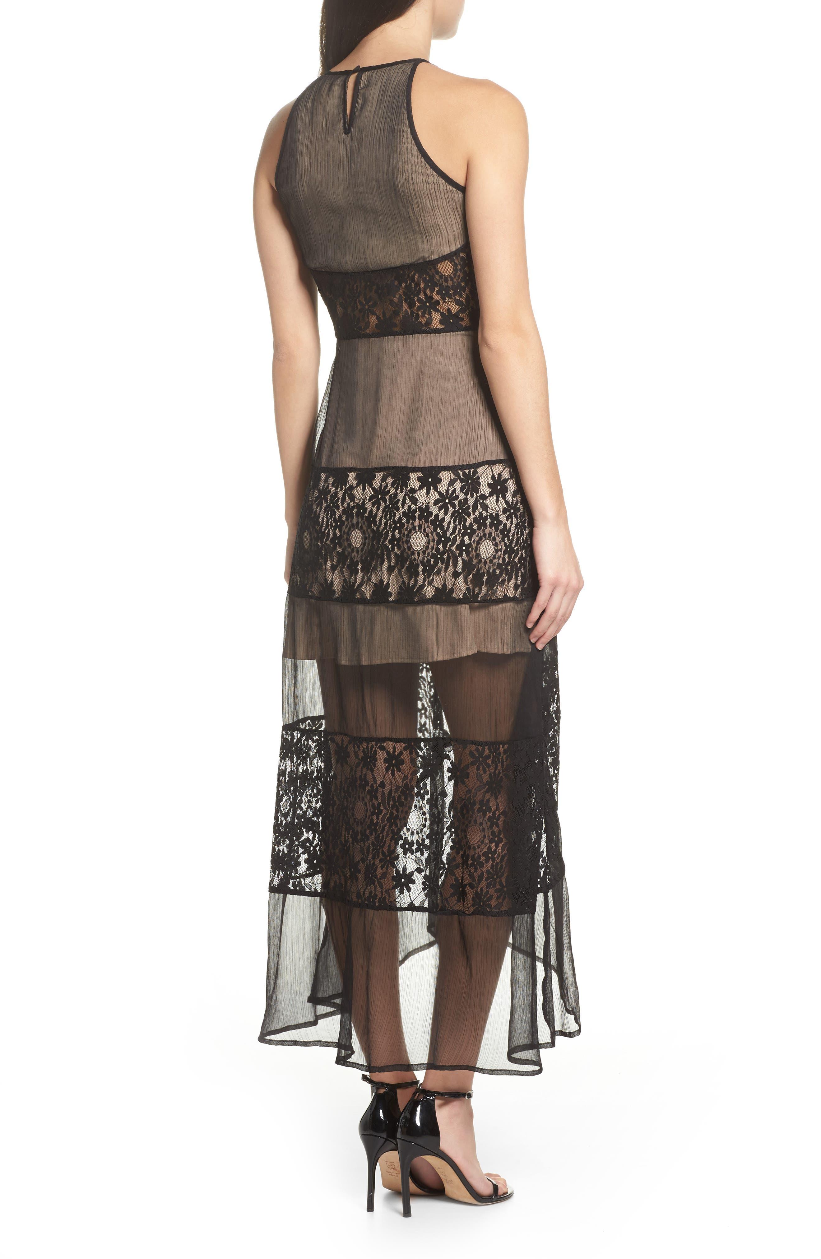 Tristan Lace & Chiffon Maxi Dress,                             Alternate thumbnail 2, color,                             001