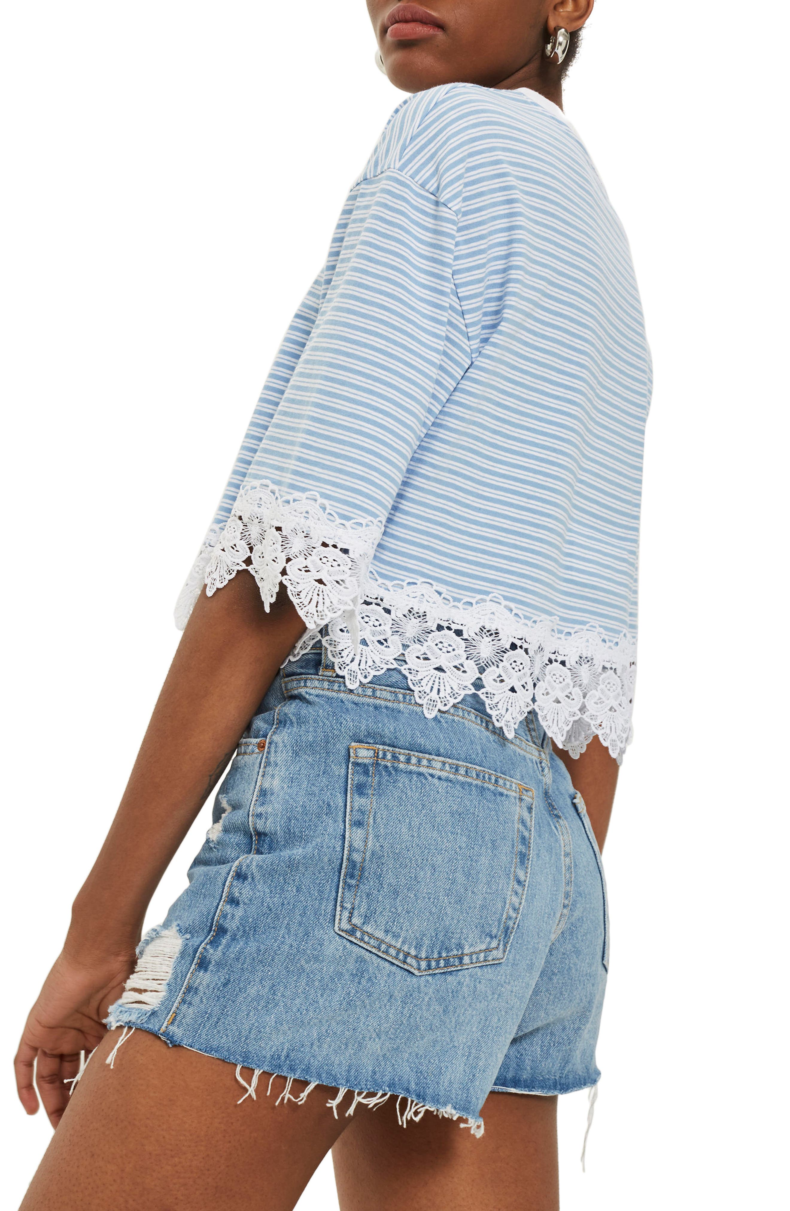 TOPSHOP,                             Stripe Lace Hem Crop Shirt,                             Alternate thumbnail 2, color,                             400