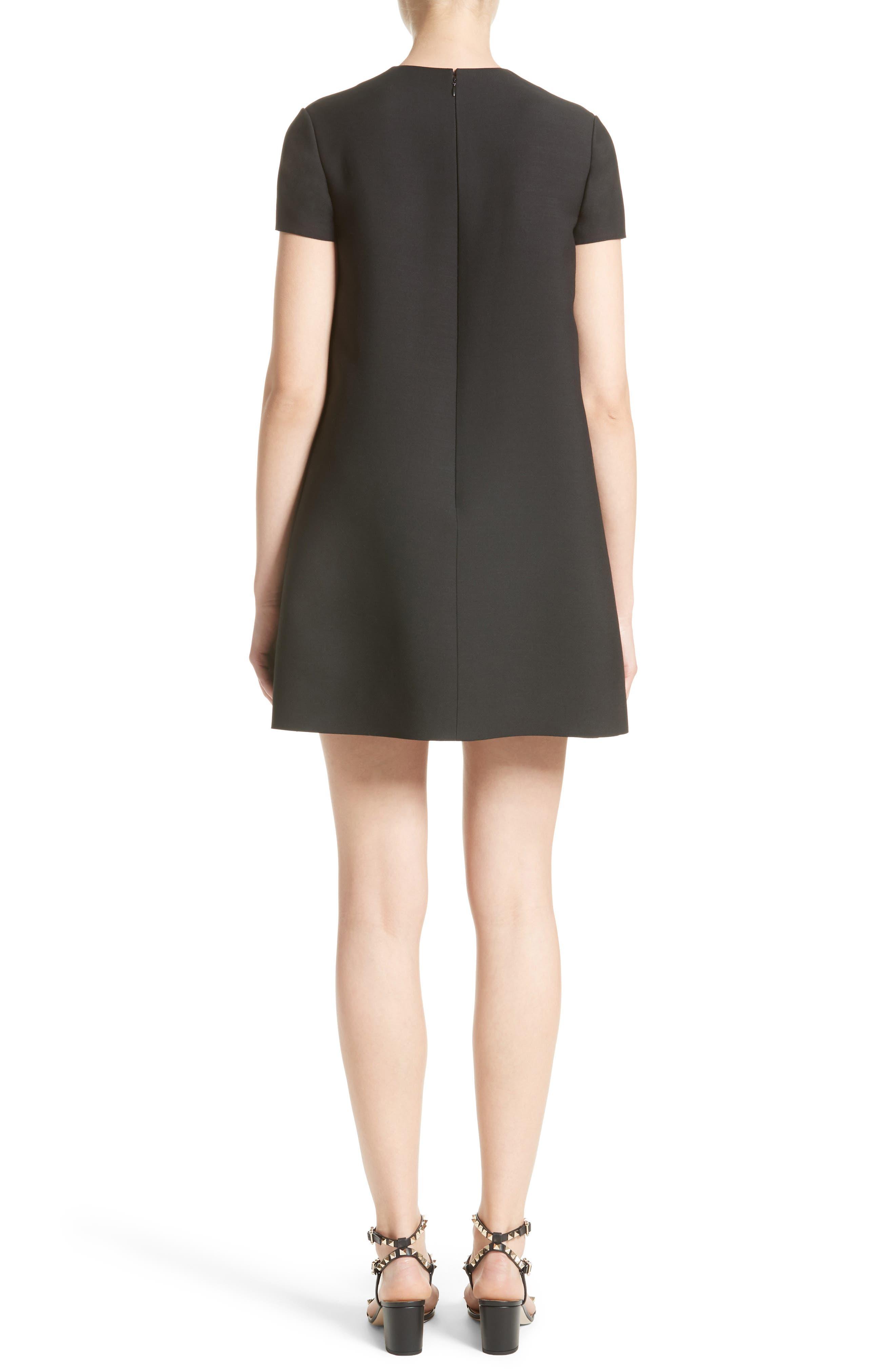 Wool & Silk Crepe Shift Dress,                             Alternate thumbnail 2, color,                             001
