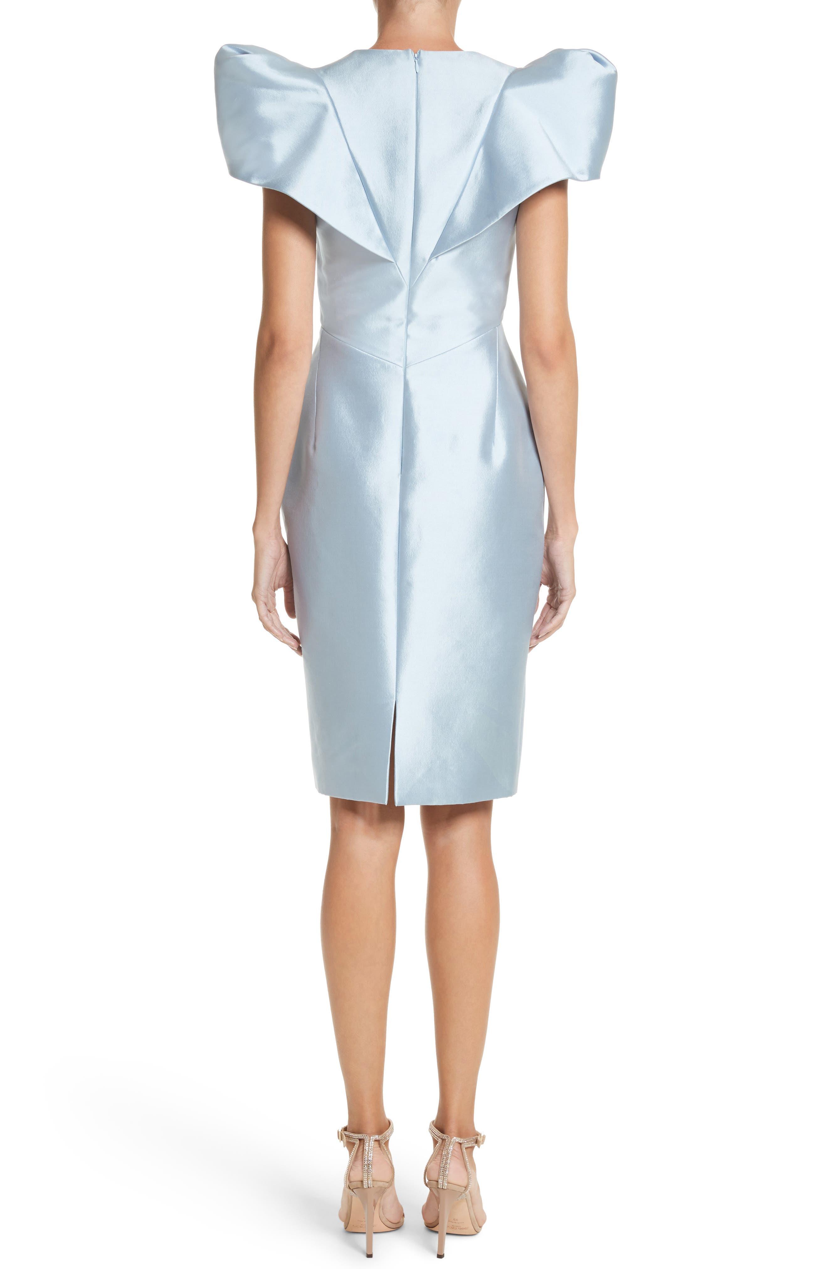 Puff Sleeve Silk Blend Sheath Dress,                             Alternate thumbnail 2, color,                             450