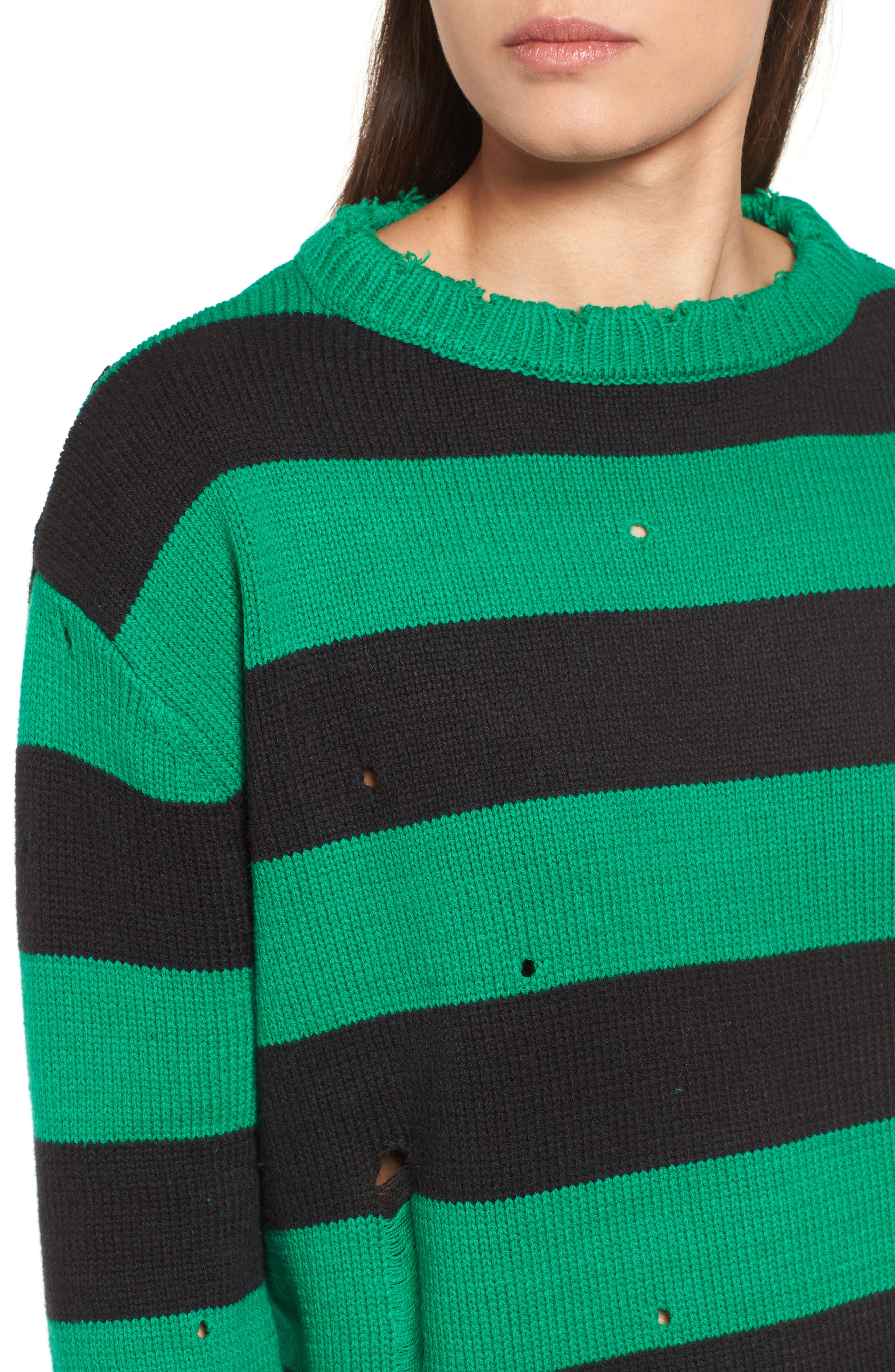 Destroyed Stripe Sweater,                             Alternate thumbnail 4, color,                             300
