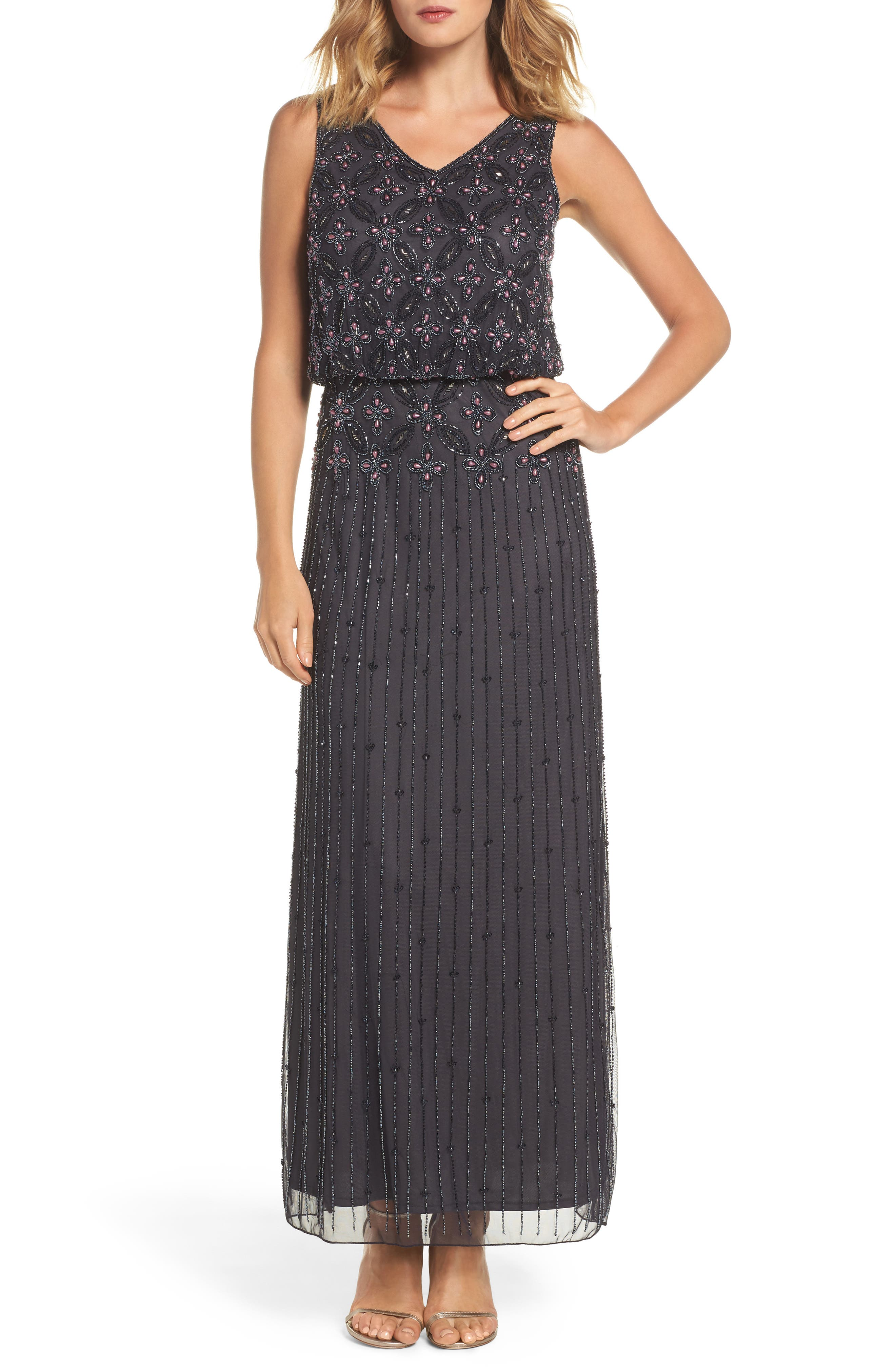 Beaded Blouson Gown,                         Main,                         color, 021