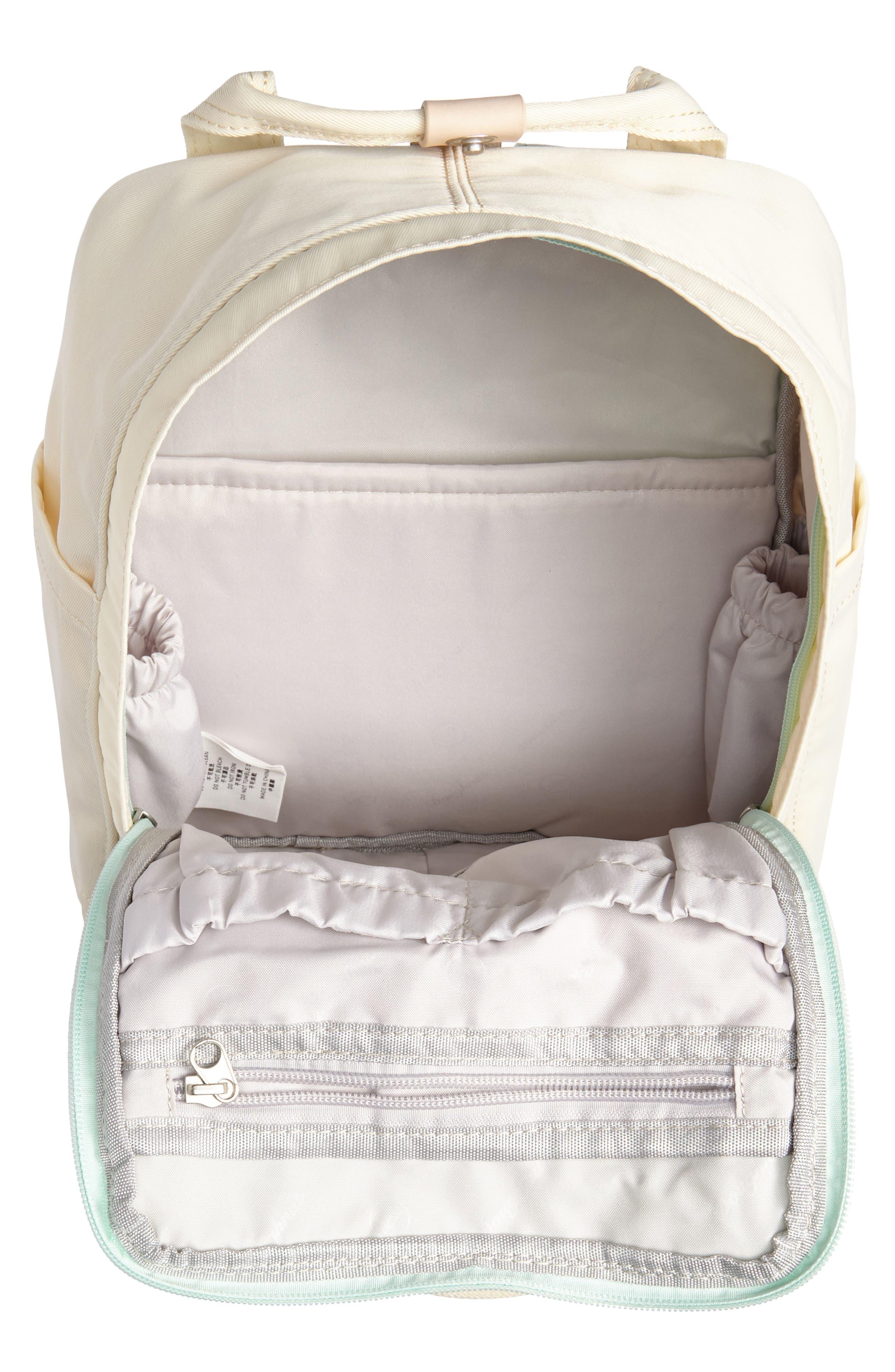 Mini Macaroon Colorblock Water Resistant Backpack,                             Alternate thumbnail 4, color,                             SODA/ CREAM