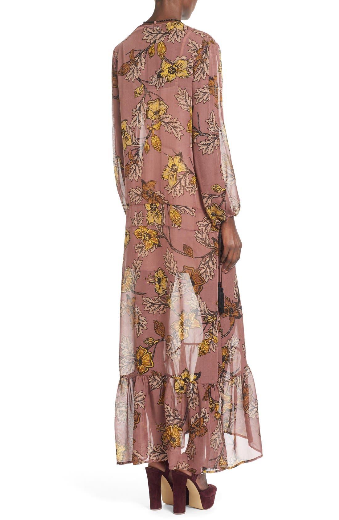 'Santa Rosa' Silk Maxi Dress,                             Alternate thumbnail 3, color,                             660