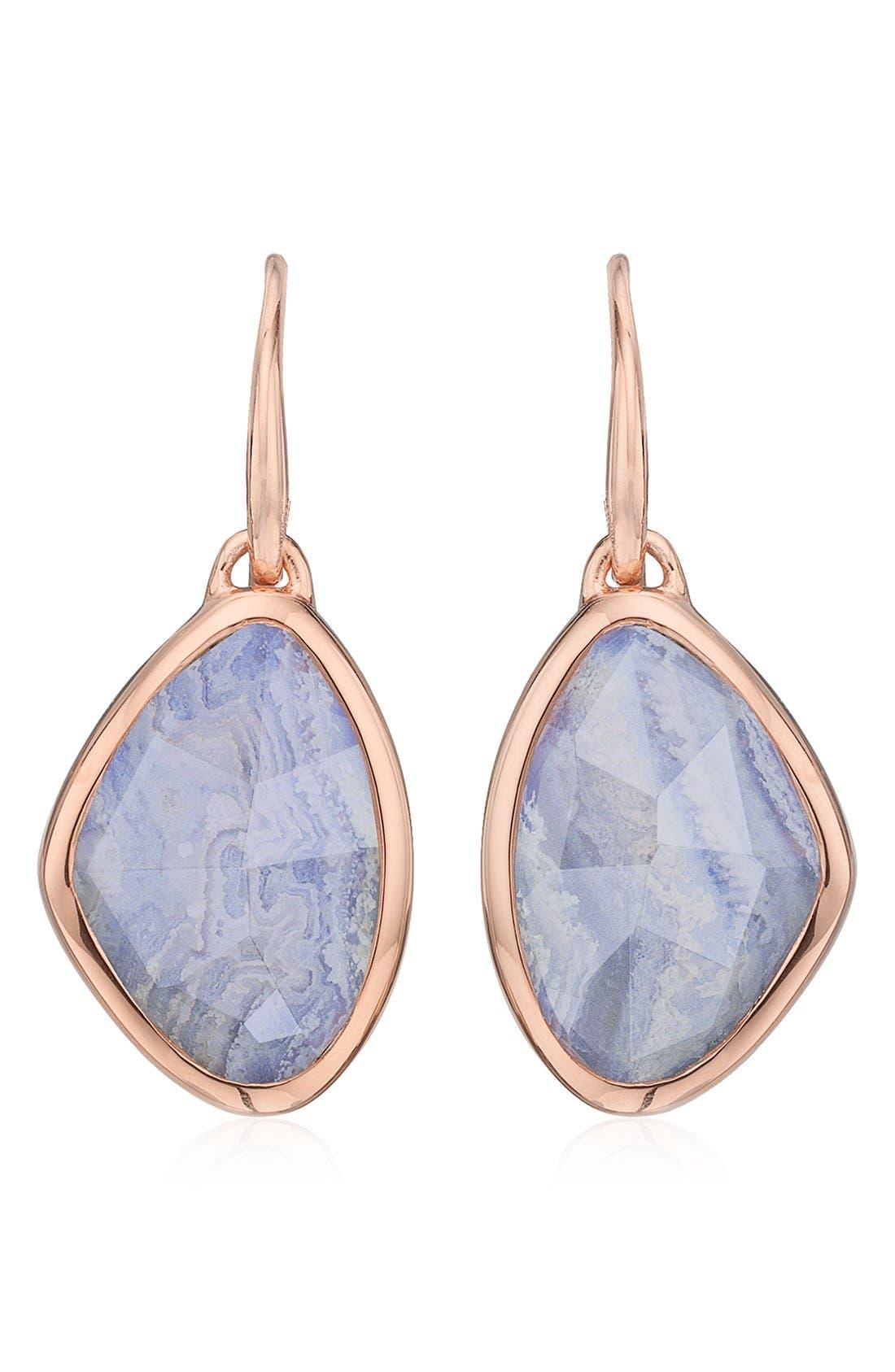 'Siren' Teardrop Earrings,                         Main,                         color, BLUE LACE AGATE/ ROSE GOLD