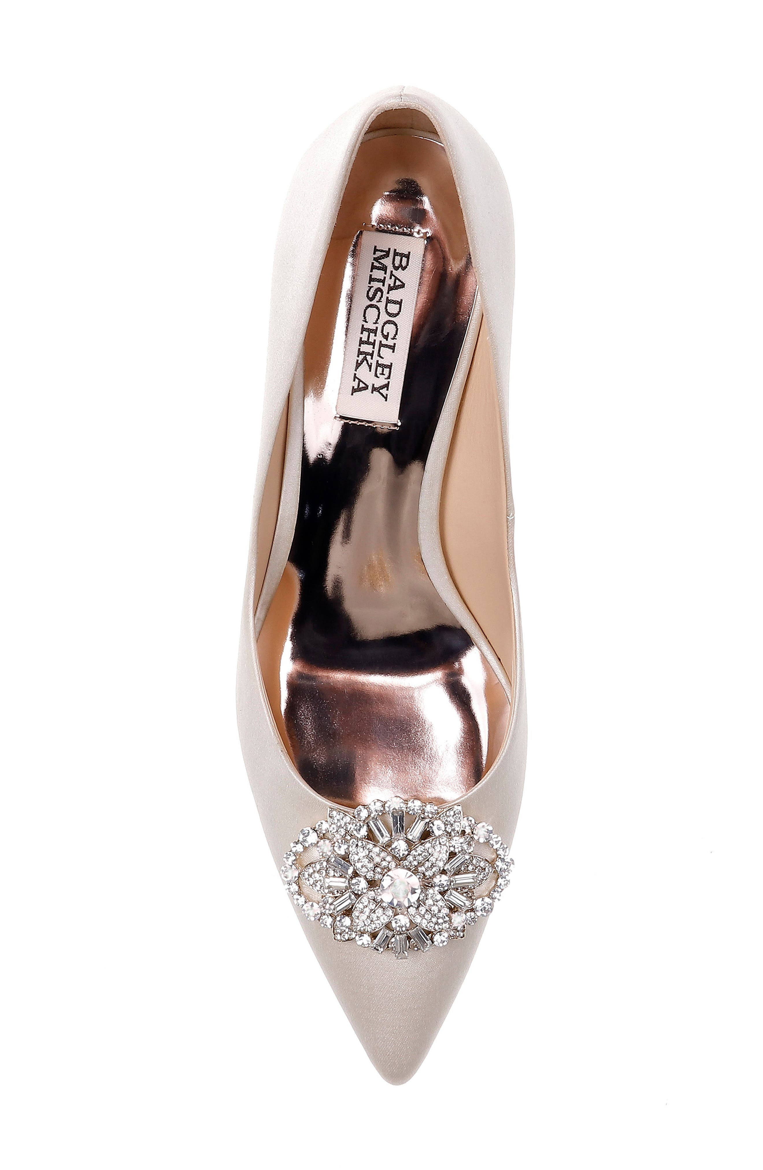Sunshine Embellished Pump,                             Alternate thumbnail 5, color,                             IVORY SATIN