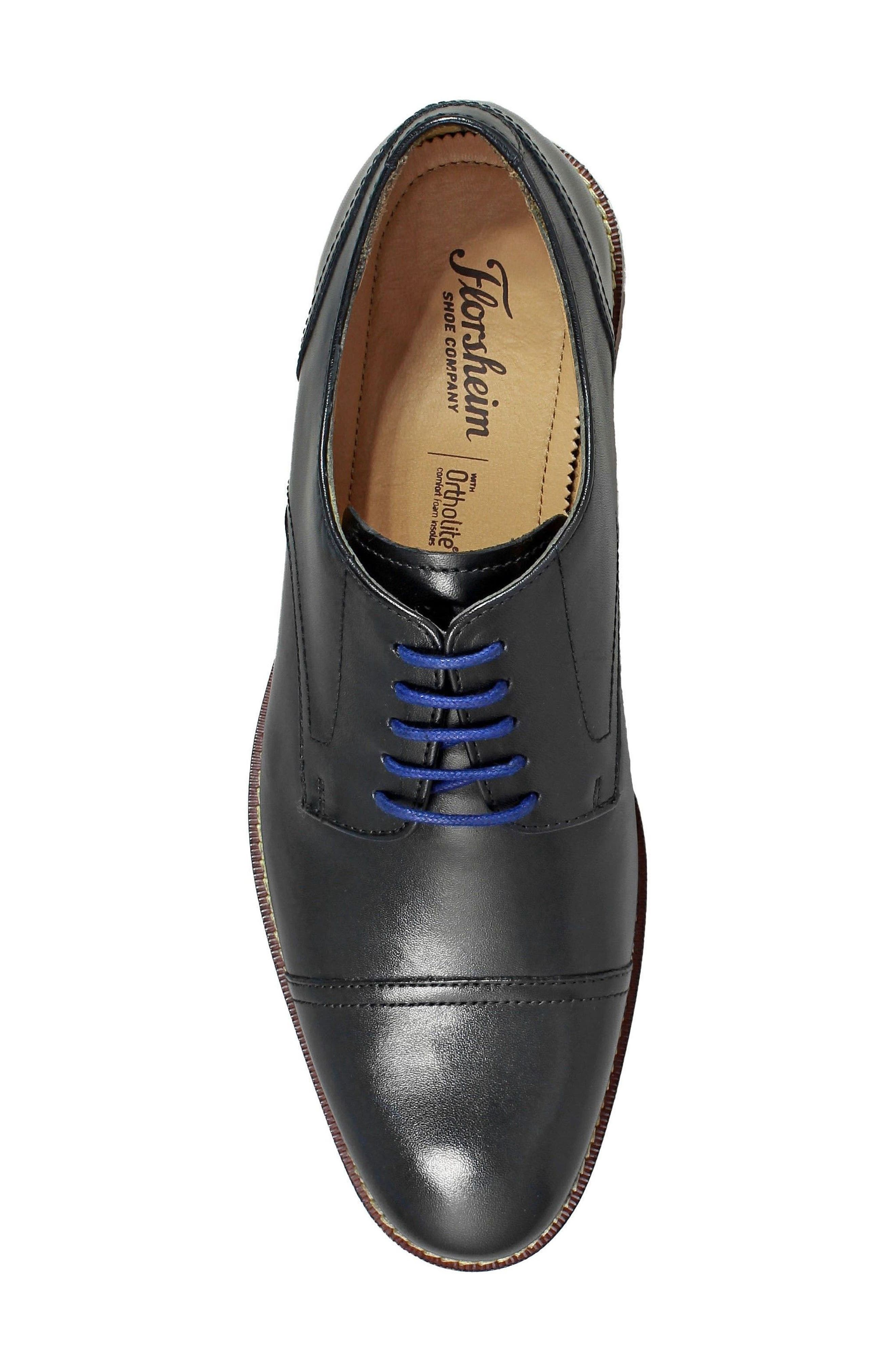 Salerno Cap Toe Derby,                             Alternate thumbnail 5, color,                             BLACK LEATHER