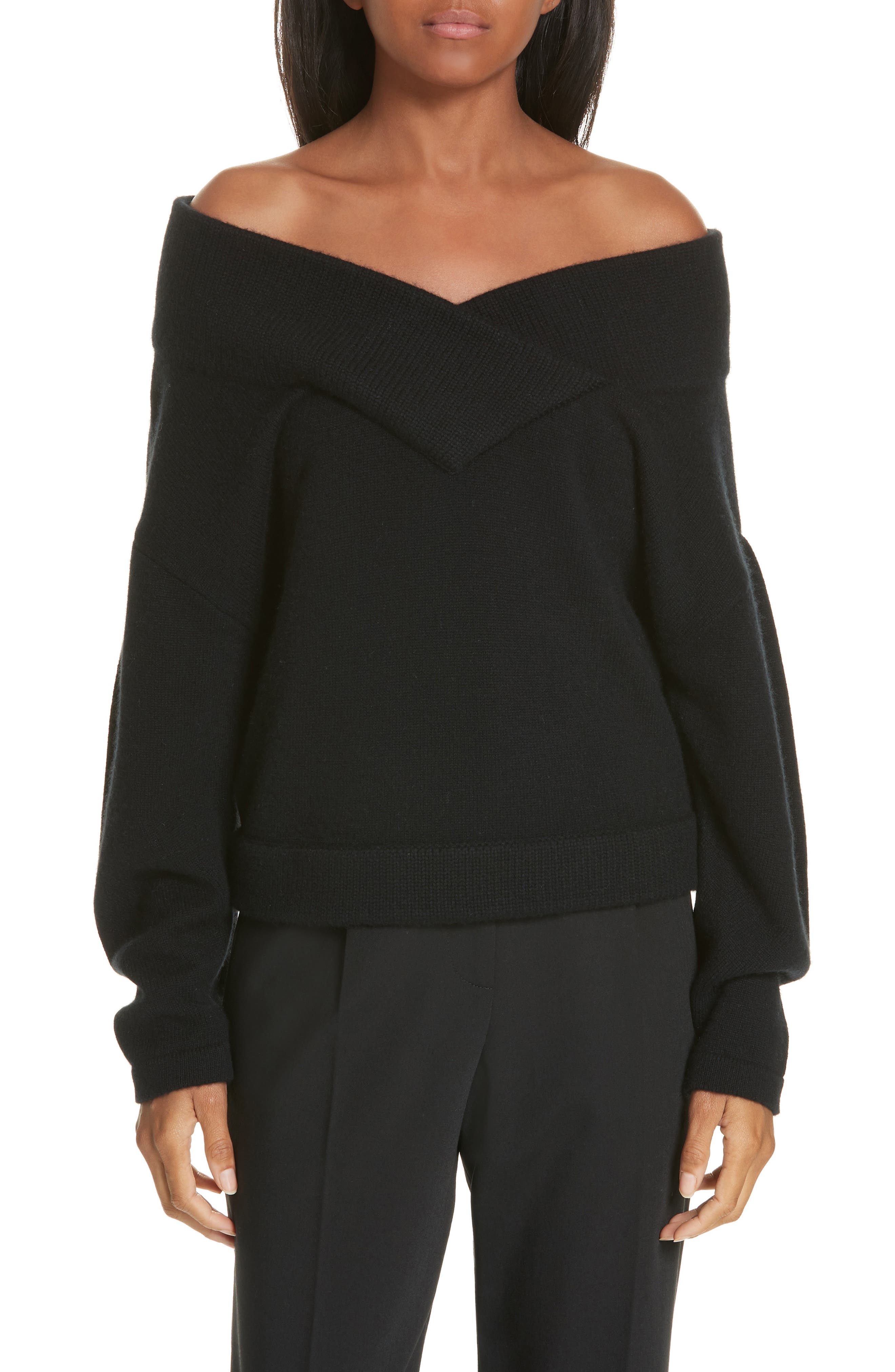 Crop Wool & Cashmere Sweater,                             Main thumbnail 1, color,                             001