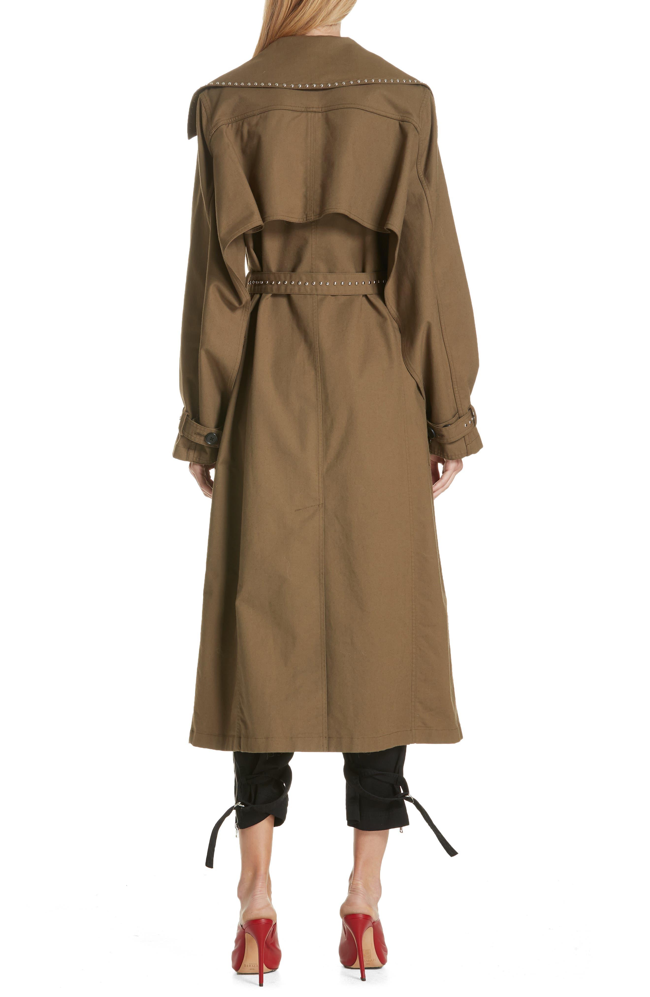Studded Trench Coat,                             Alternate thumbnail 2, color,                             DARK GREEN