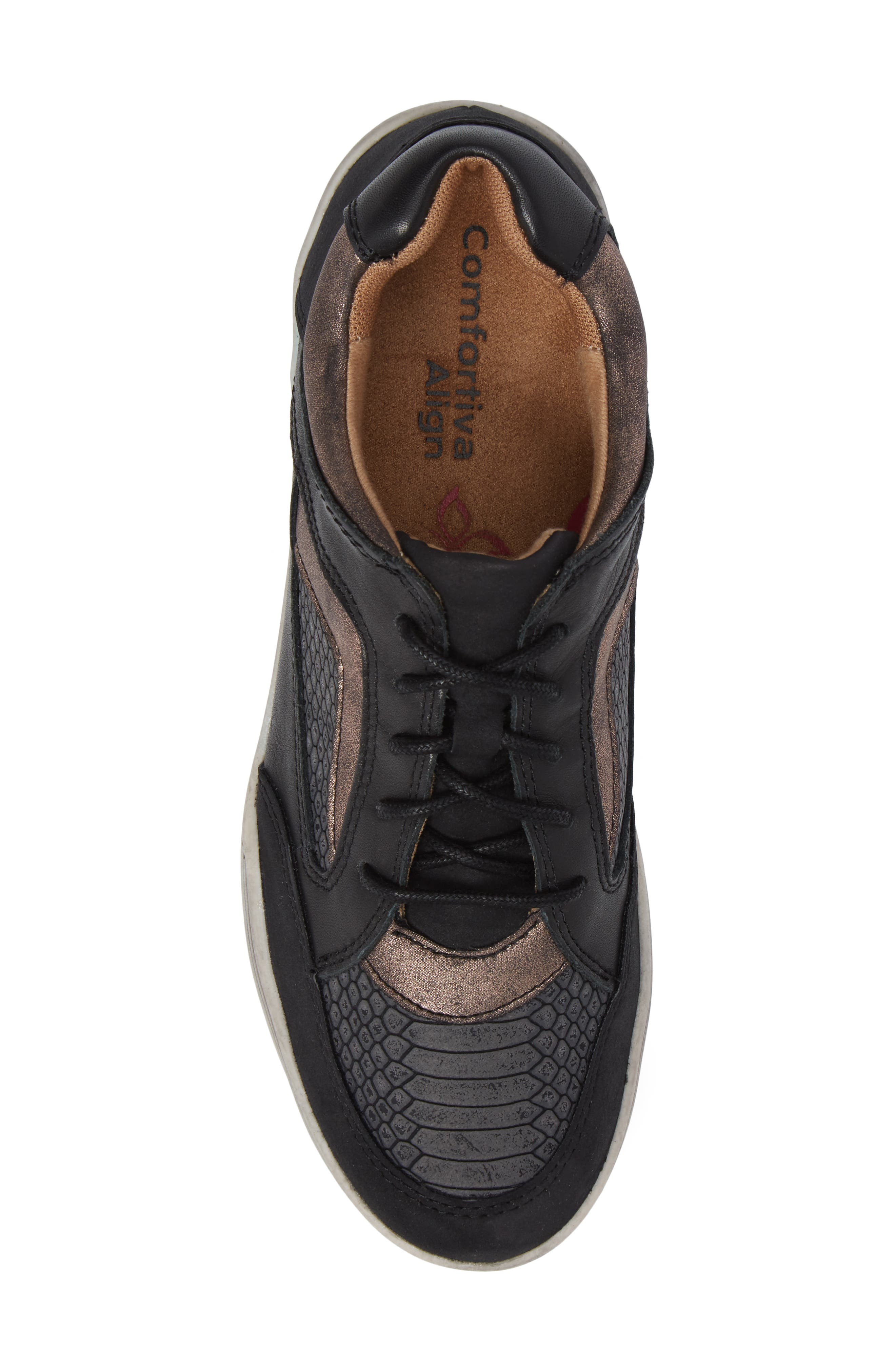 Lemont Snake Embossed Sneaker,                             Alternate thumbnail 5, color,                             BLACK SNAKE PRINT LEATHER