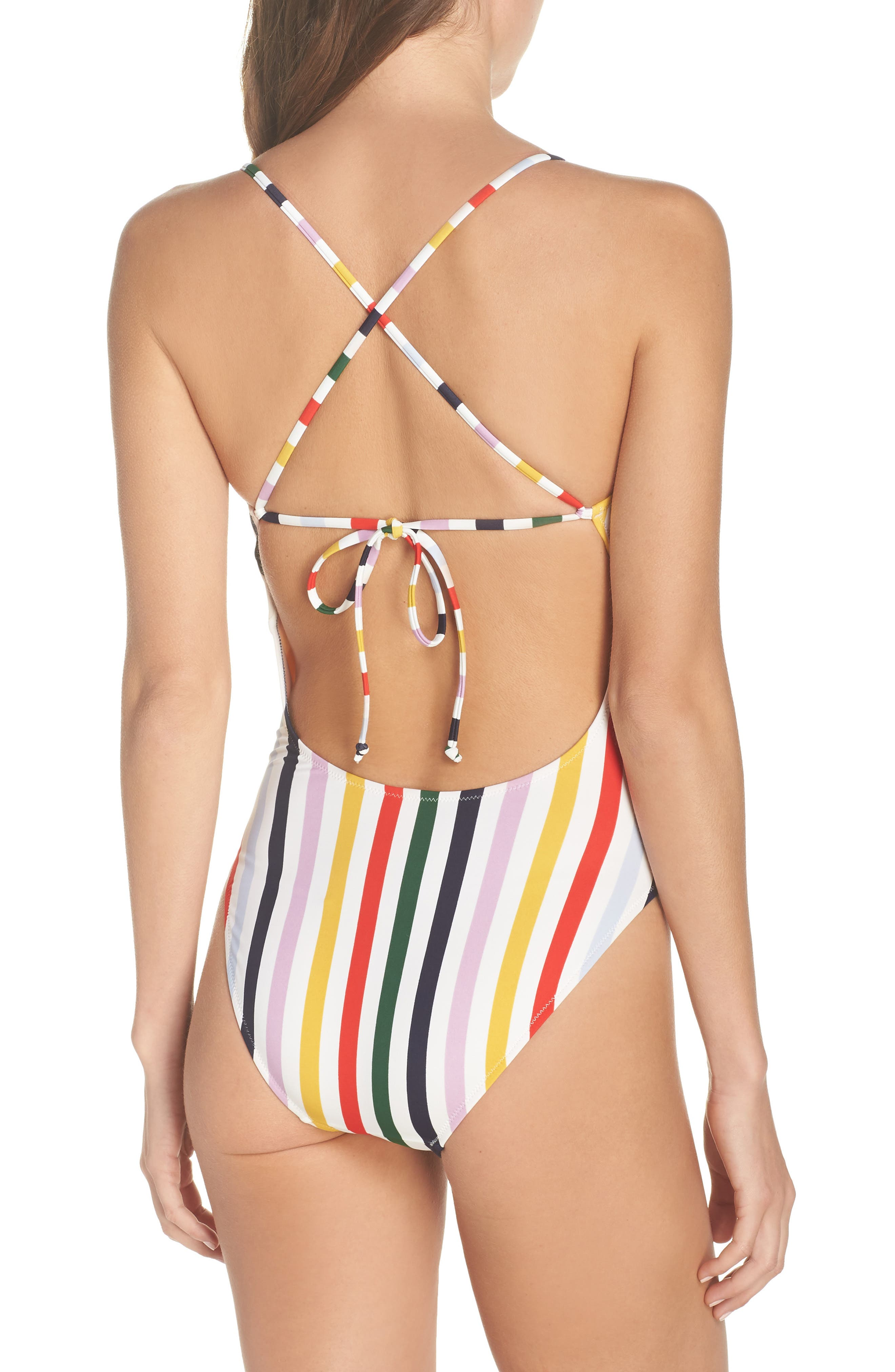 J.CREW,                             Holiday Stripe Tie Back One-Piece Swimsuit,                             Alternate thumbnail 2, color,                             IVORY RICH GOLD MULTI