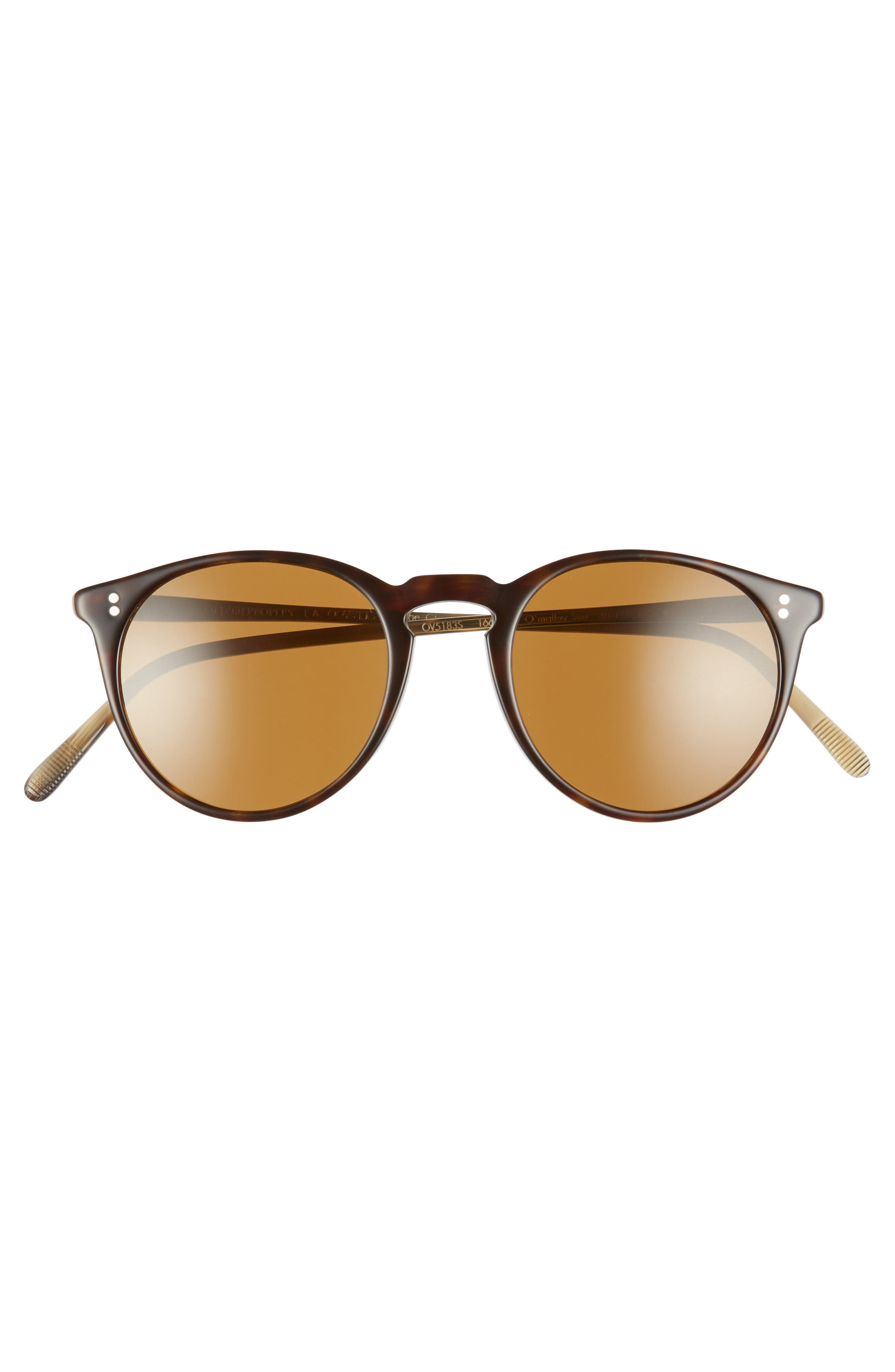 O'Malley 48mm Round Sunglasses,                             Alternate thumbnail 3, color,                             HORN BROWN