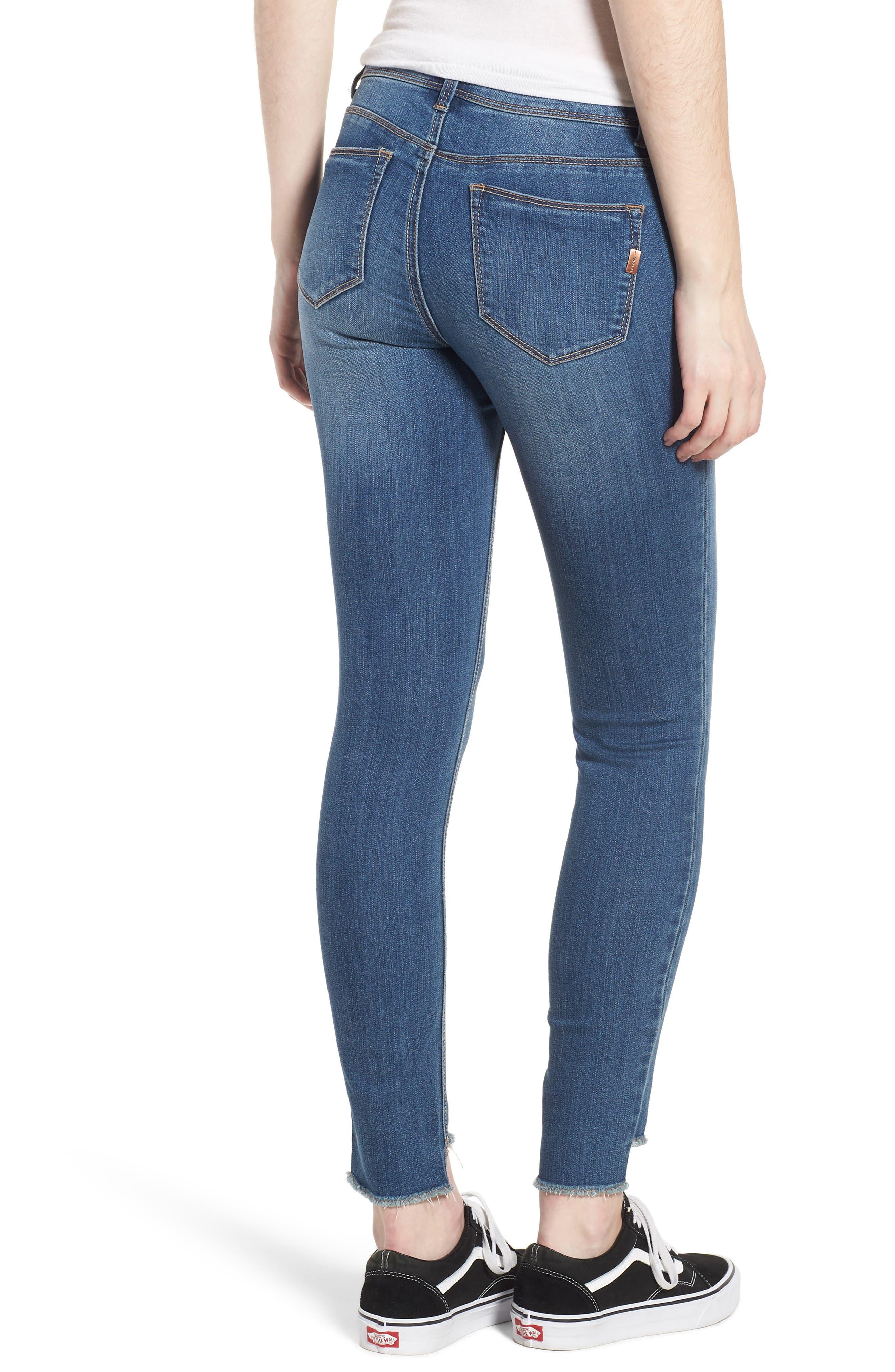 Ripped Step Hem Skinny Jeans,                             Alternate thumbnail 2, color,
