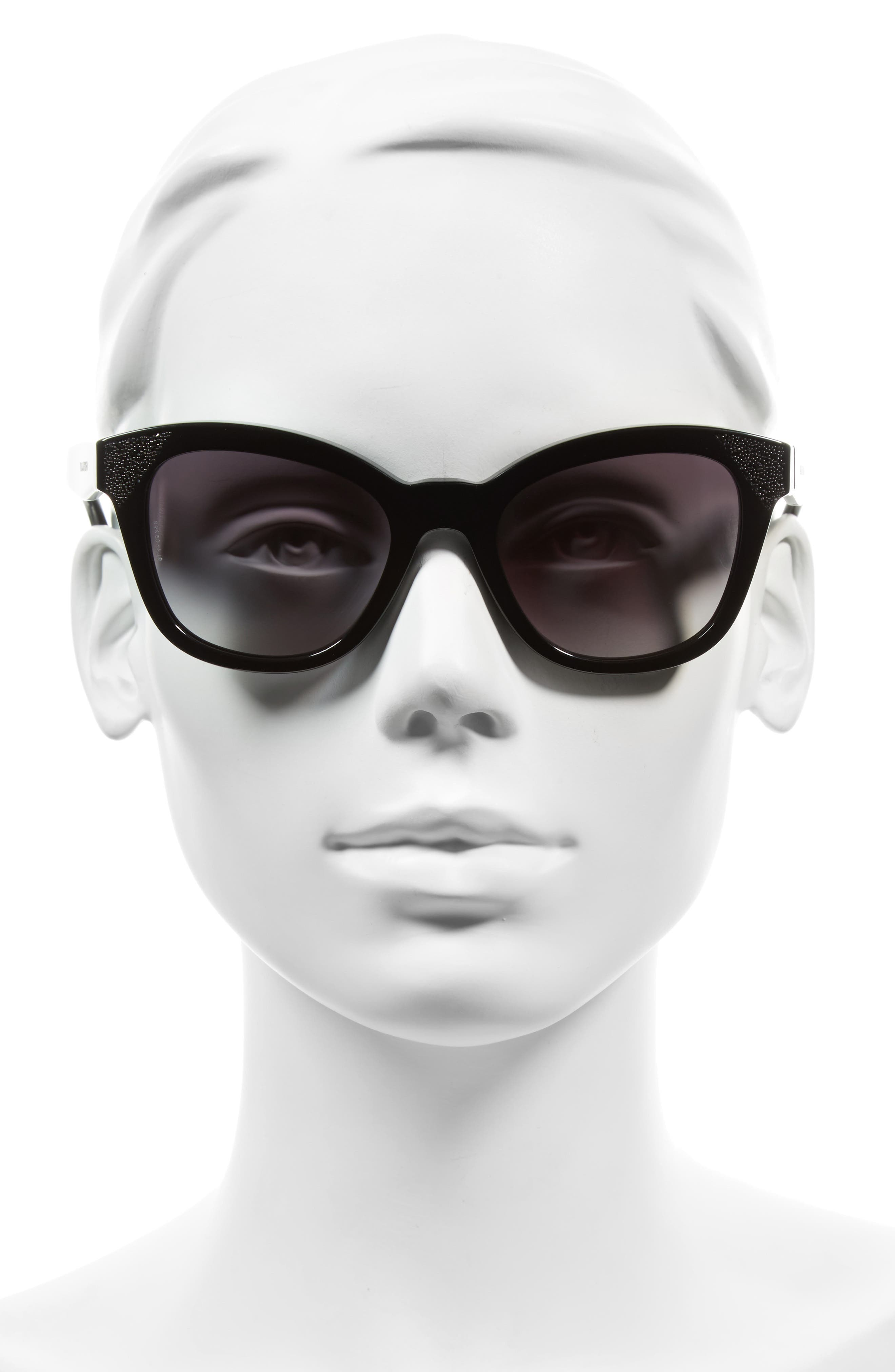 52mm Cat Eye Sunglasses,                             Alternate thumbnail 2, color,                             BLACK/ BLACK CRYSTAL