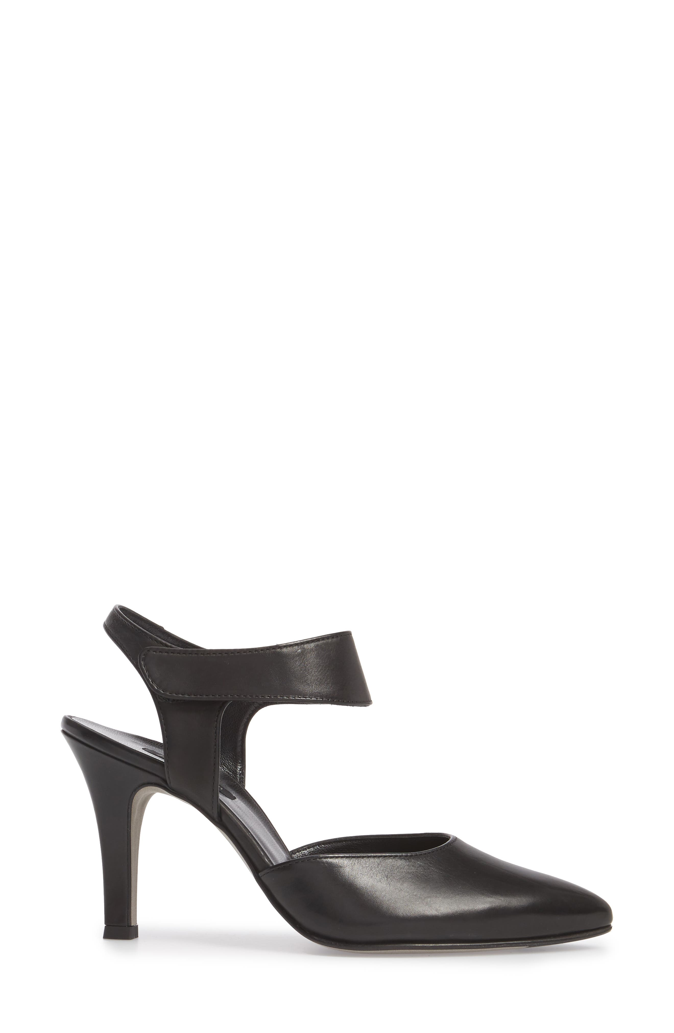 Nicolette Pointy Toe Pump,                             Alternate thumbnail 3, color,                             BLACK LEATHER