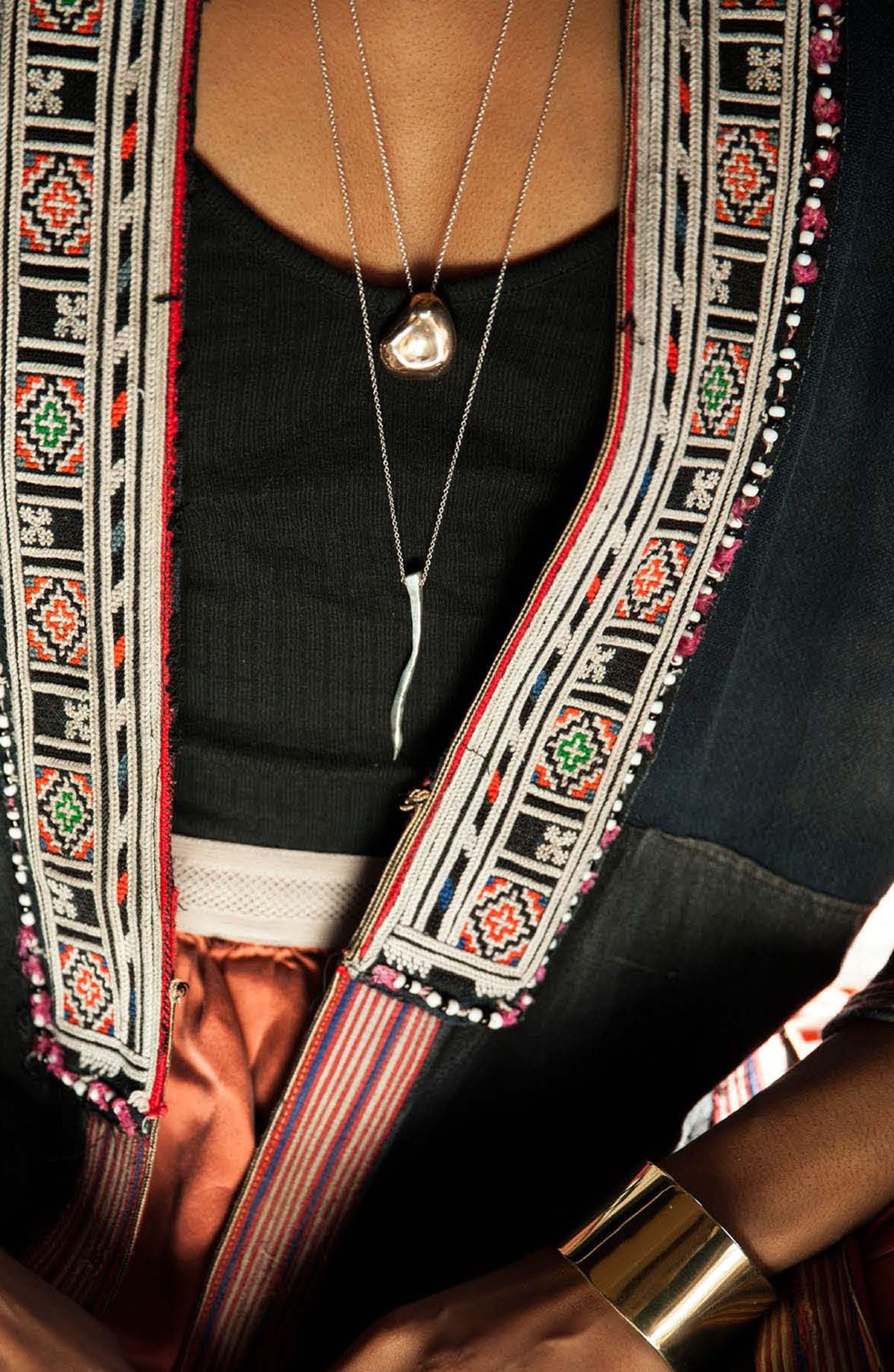 Nug Pendant Necklace,                             Alternate thumbnail 3, color,                             STERLING SILVER