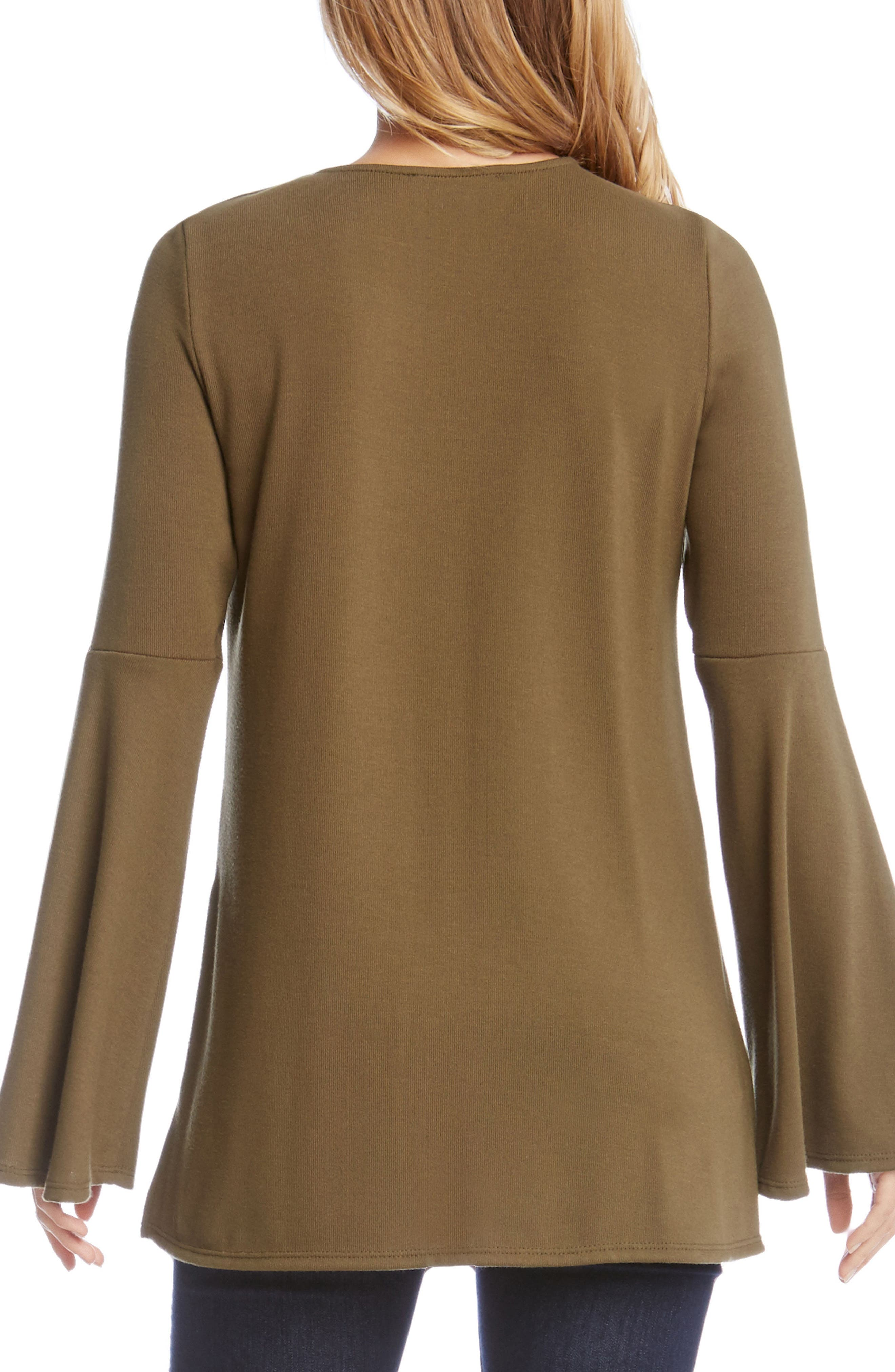 Bell Sleeve Lace-Up Top,                             Alternate thumbnail 5, color,