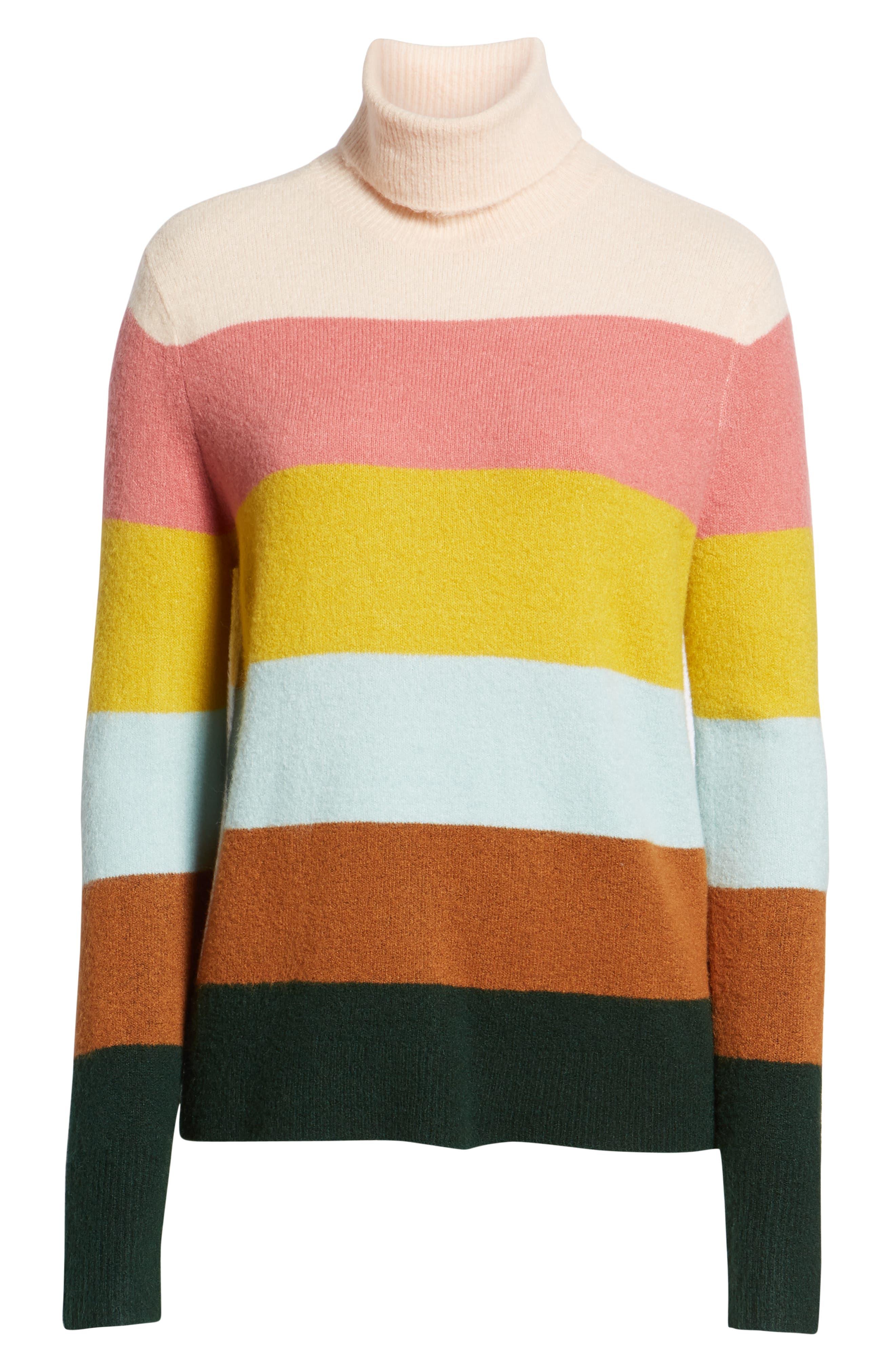 x Atlantic-Pacific Stripe Turtleneck Sweater,                             Alternate thumbnail 7, color,                             PINK MULTI STRIPE