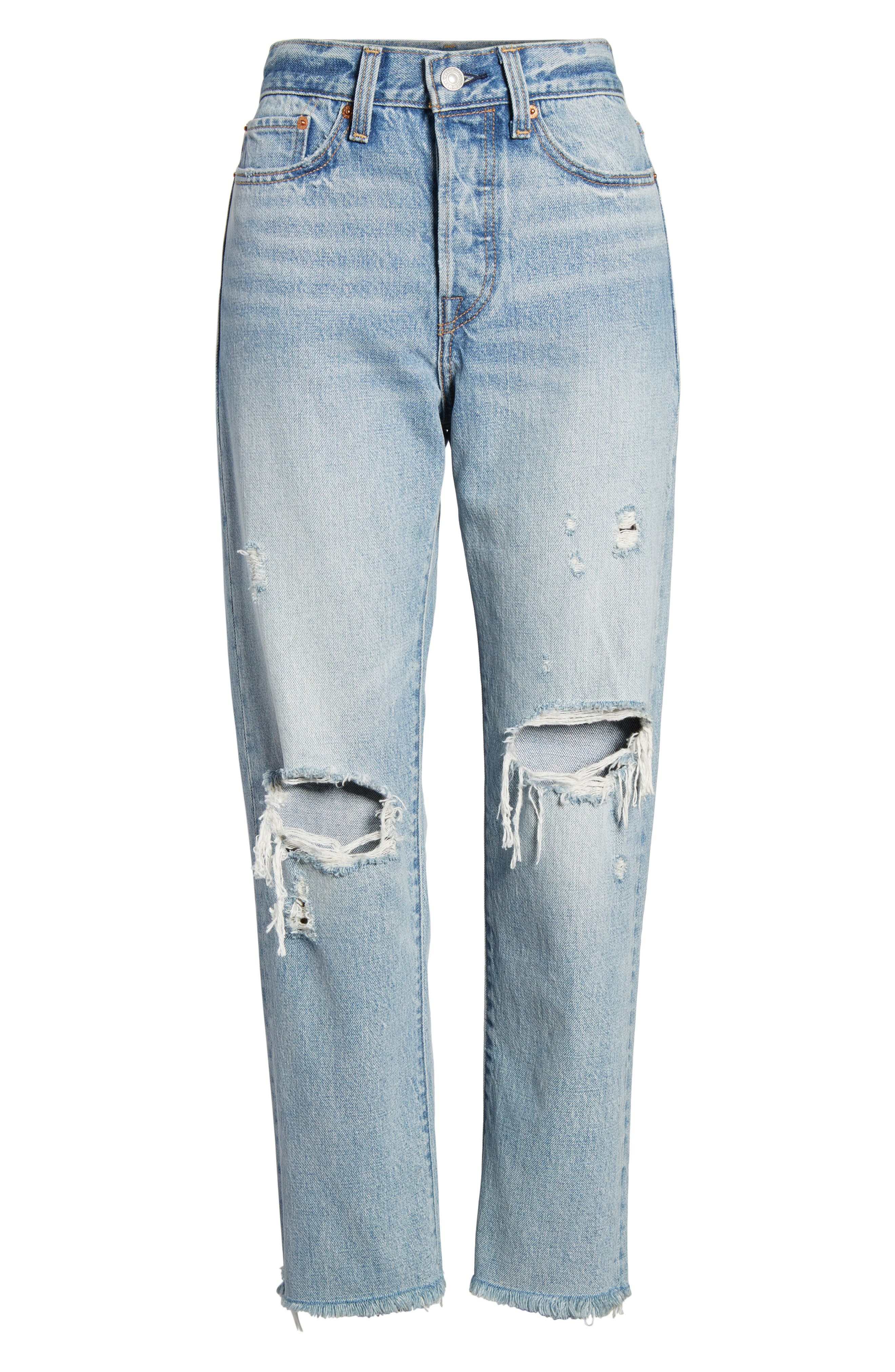 Wedgie High Waist Straight Jeans,                             Alternate thumbnail 7, color,                             420