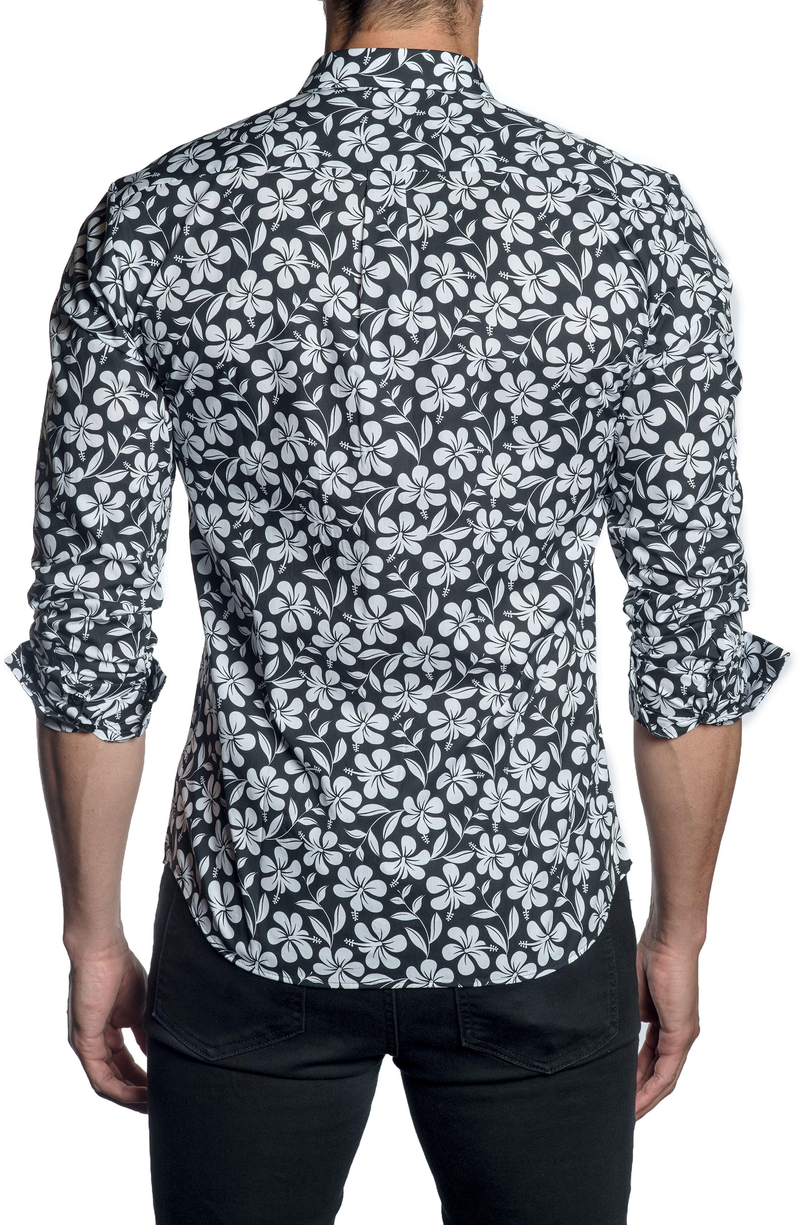 JARED LANG,                             Trim Fit Sport Shirt,                             Alternate thumbnail 2, color,                             BLACK FLORAL
