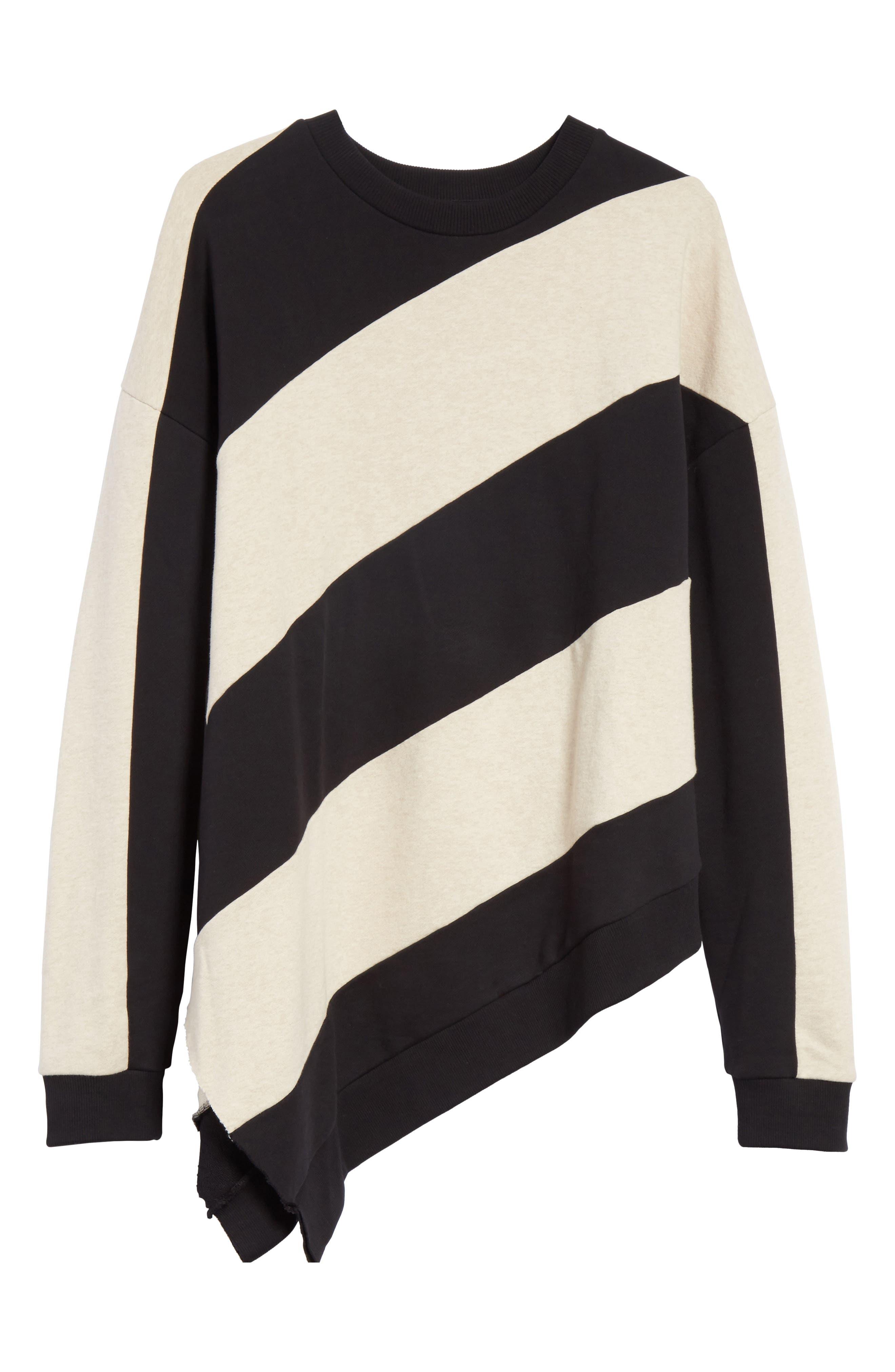 Marques'Almeida Asymmetrical Stripe Sweatshirt,                             Alternate thumbnail 6, color,                             250