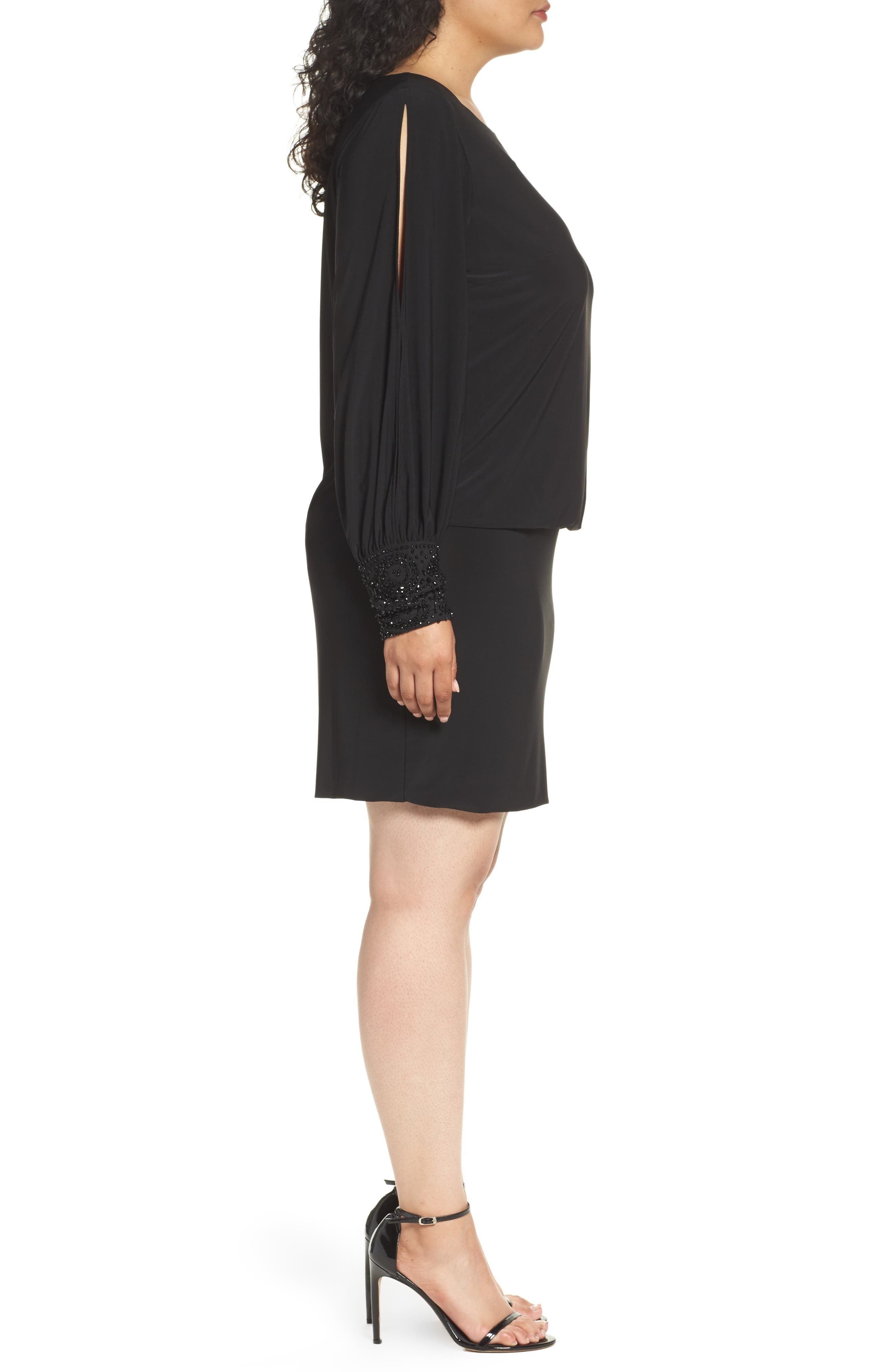 Embellished Cuff Blouson Jersey Dress,                             Alternate thumbnail 4, color,                             BLACK