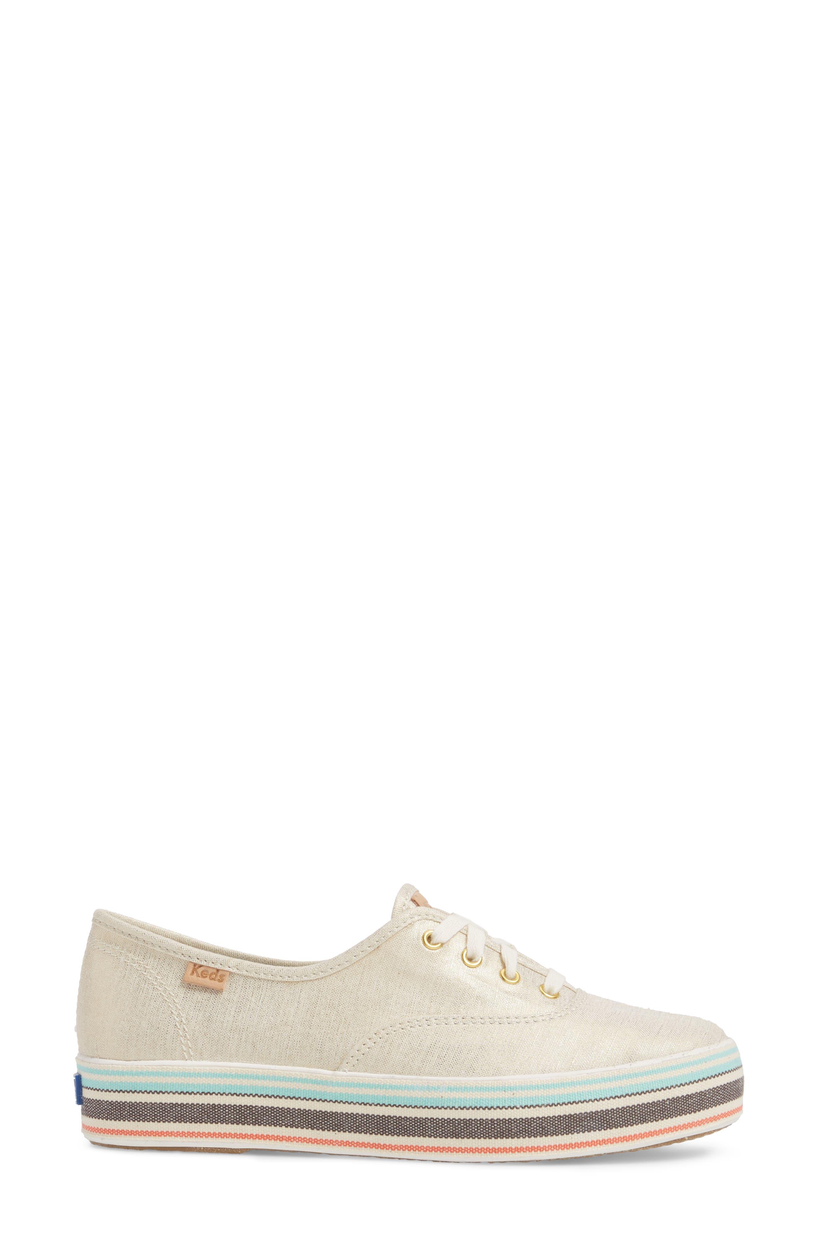 Triple Stripe Foxing Platform Sneaker,                             Alternate thumbnail 3, color,                             250