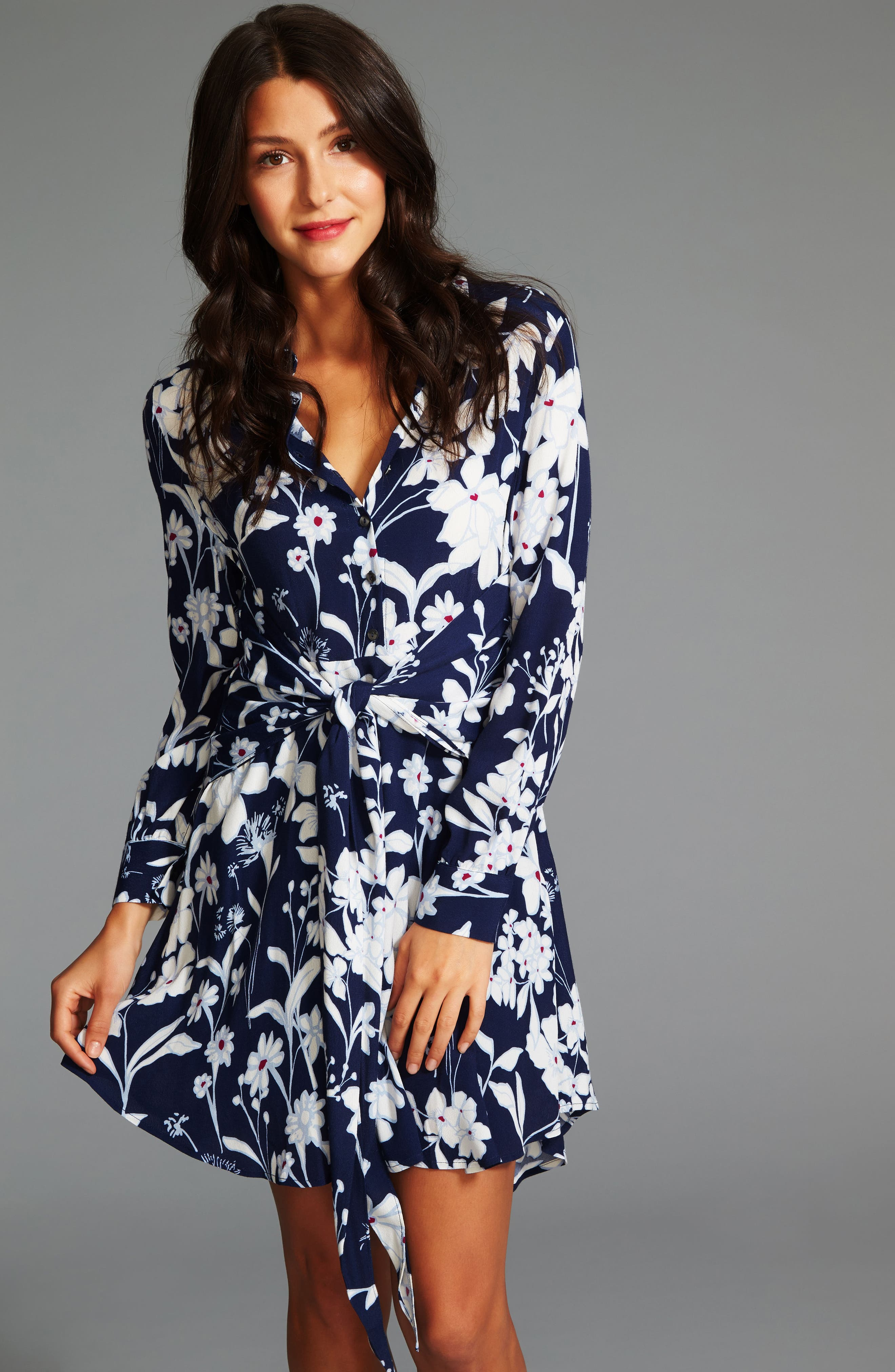 Tie Front Shirtdress,                             Alternate thumbnail 3, color,                             453