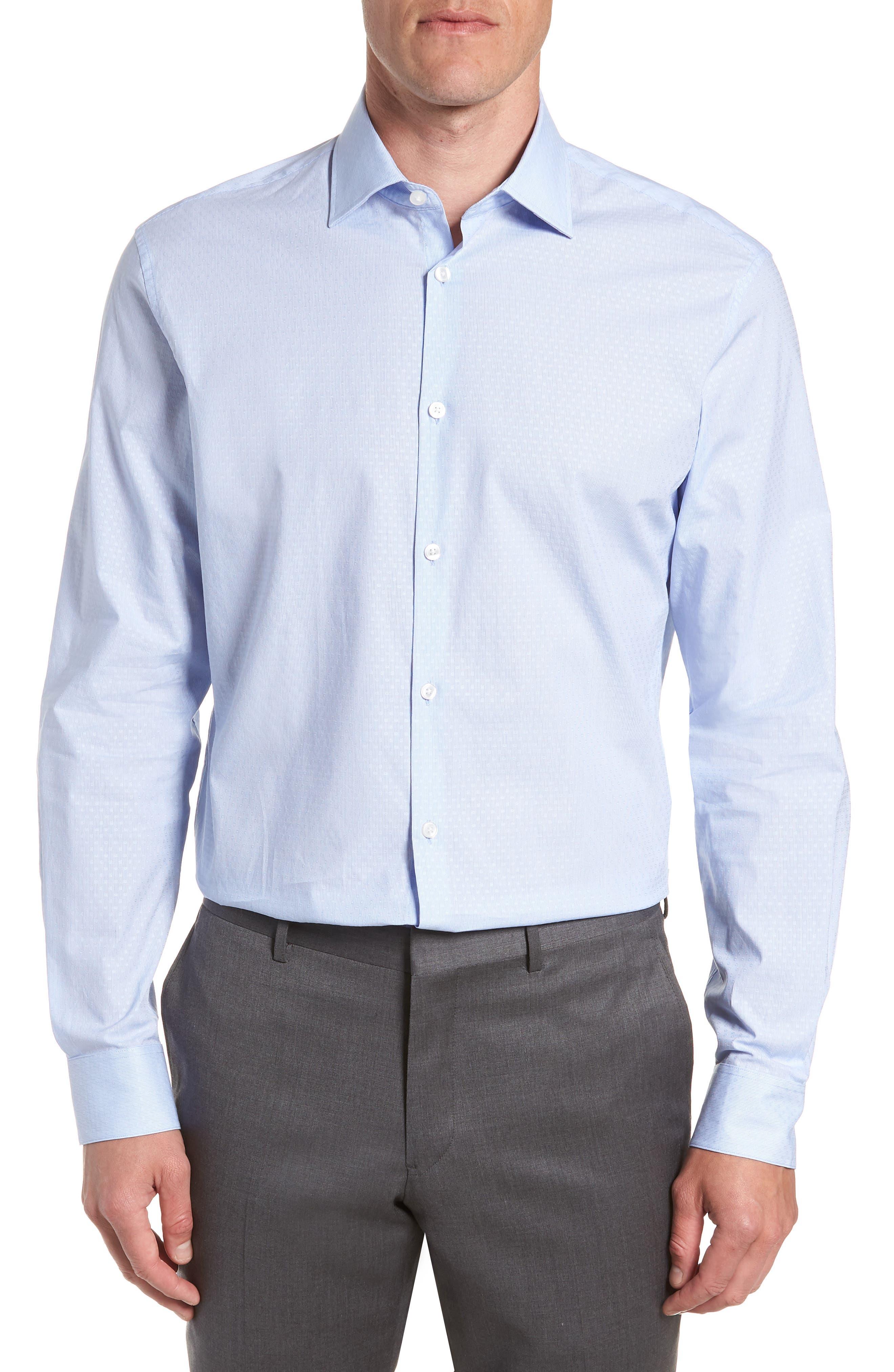 Regular Fit Stripe Dress Shirt,                         Main,                         color, CLOUD