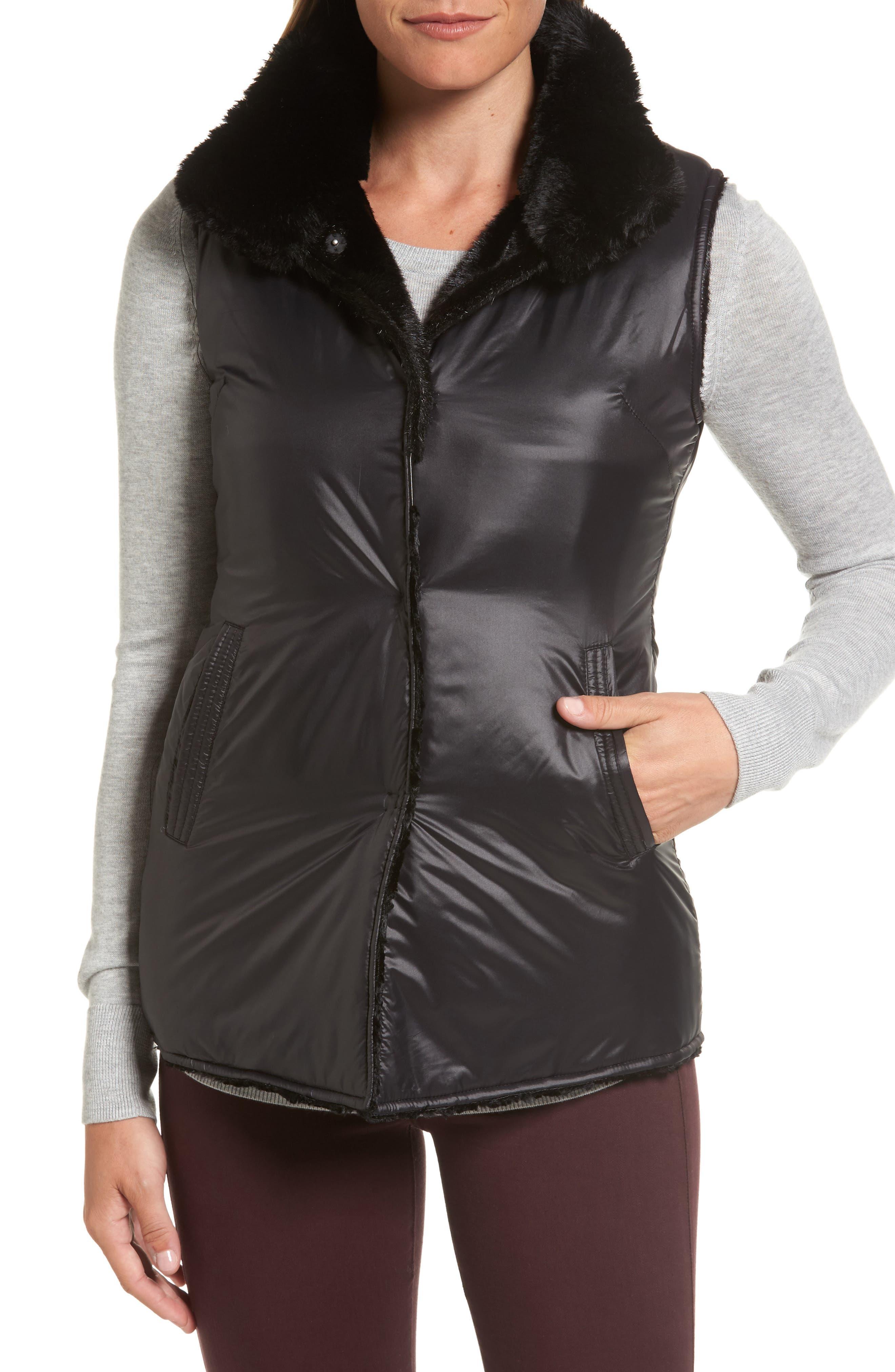 Reversible Faux Fur & Faux Leather Vest,                             Alternate thumbnail 2, color,                             019