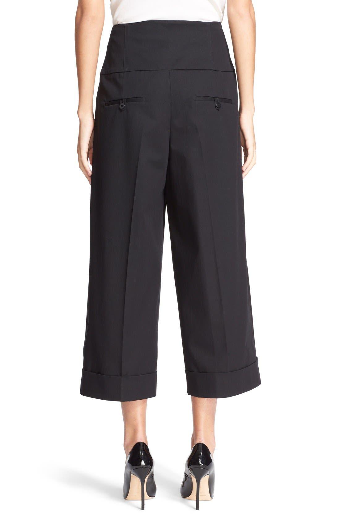 Wide Leg Stretch Cotton Crop Pants,                             Alternate thumbnail 5, color,                             001