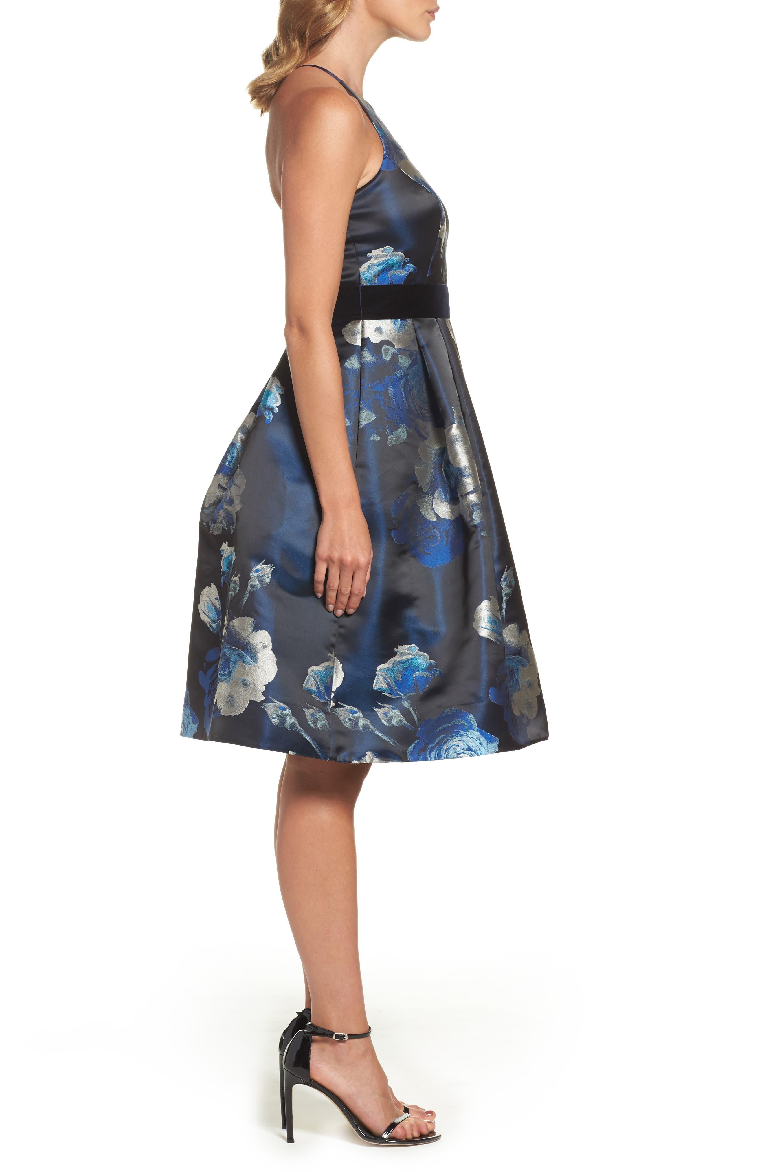 Jacquard Fit & Flare Dress,                             Alternate thumbnail 3, color,                             004