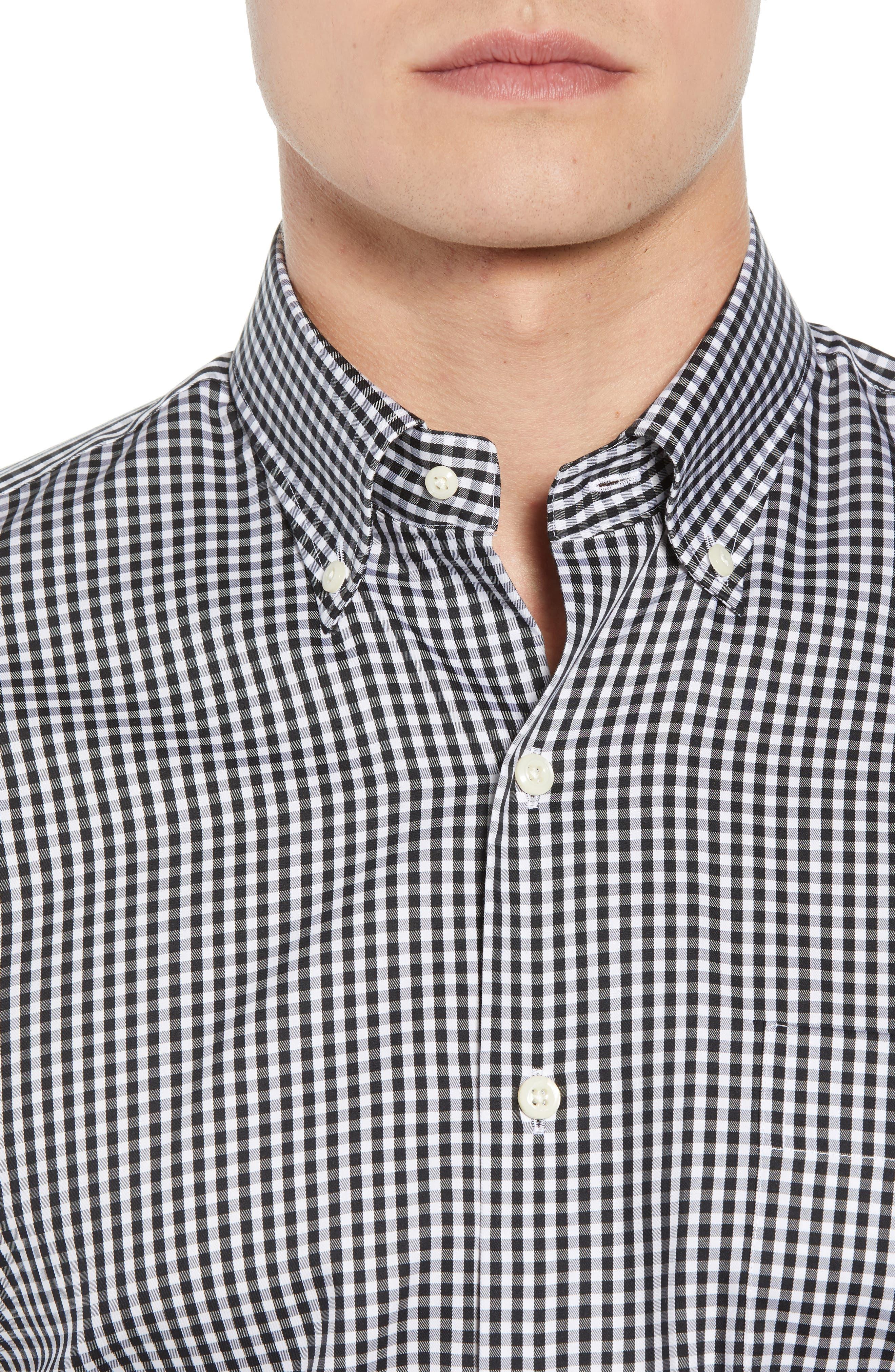 Crown Soft Gingham Regular Fit Sport Shirt,                             Alternate thumbnail 2, color,                             BLACK