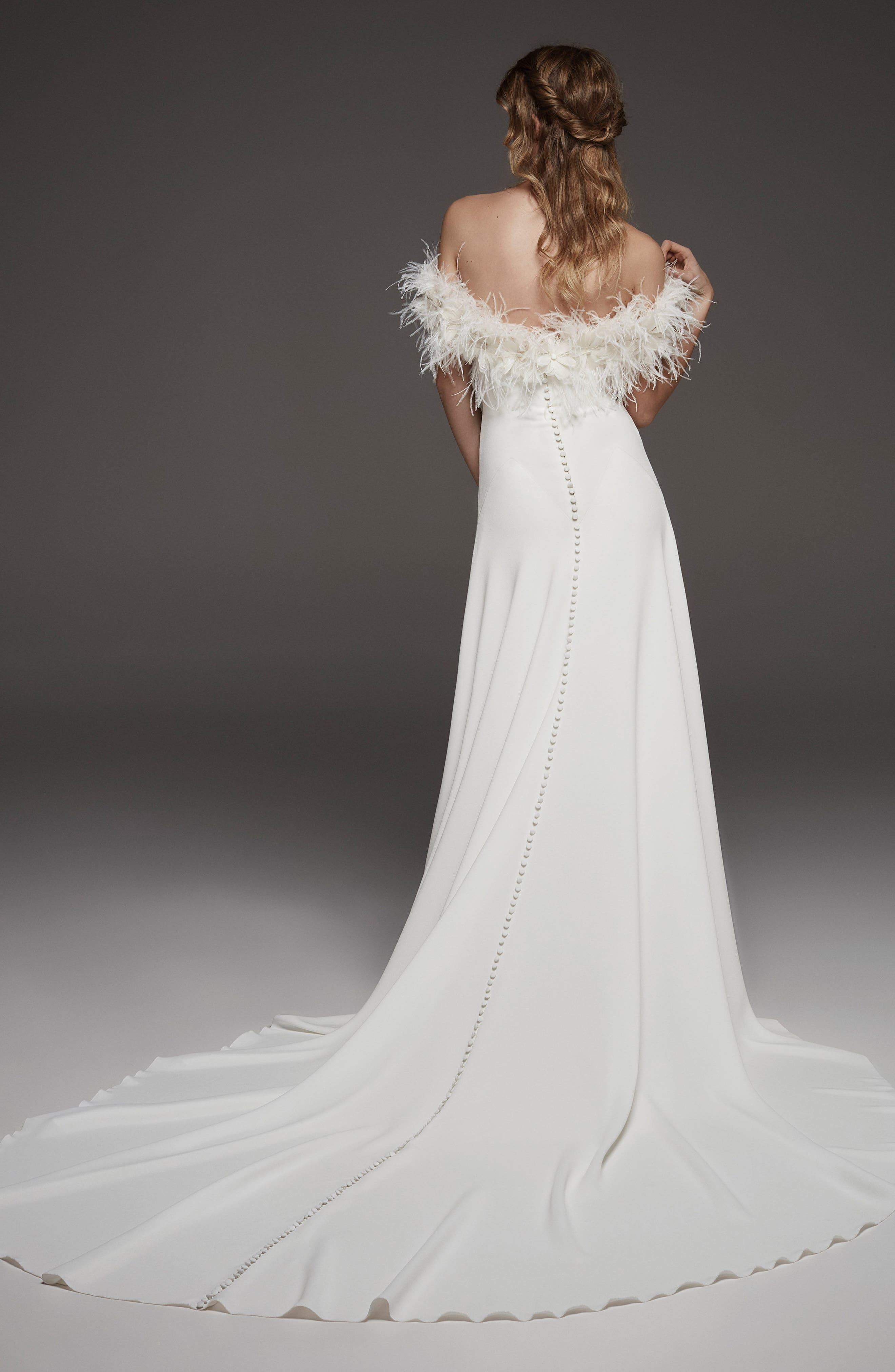 Halda Feather Off the Shoulder Crepe Gown,                             Alternate thumbnail 2, color,                             OFF WHITE