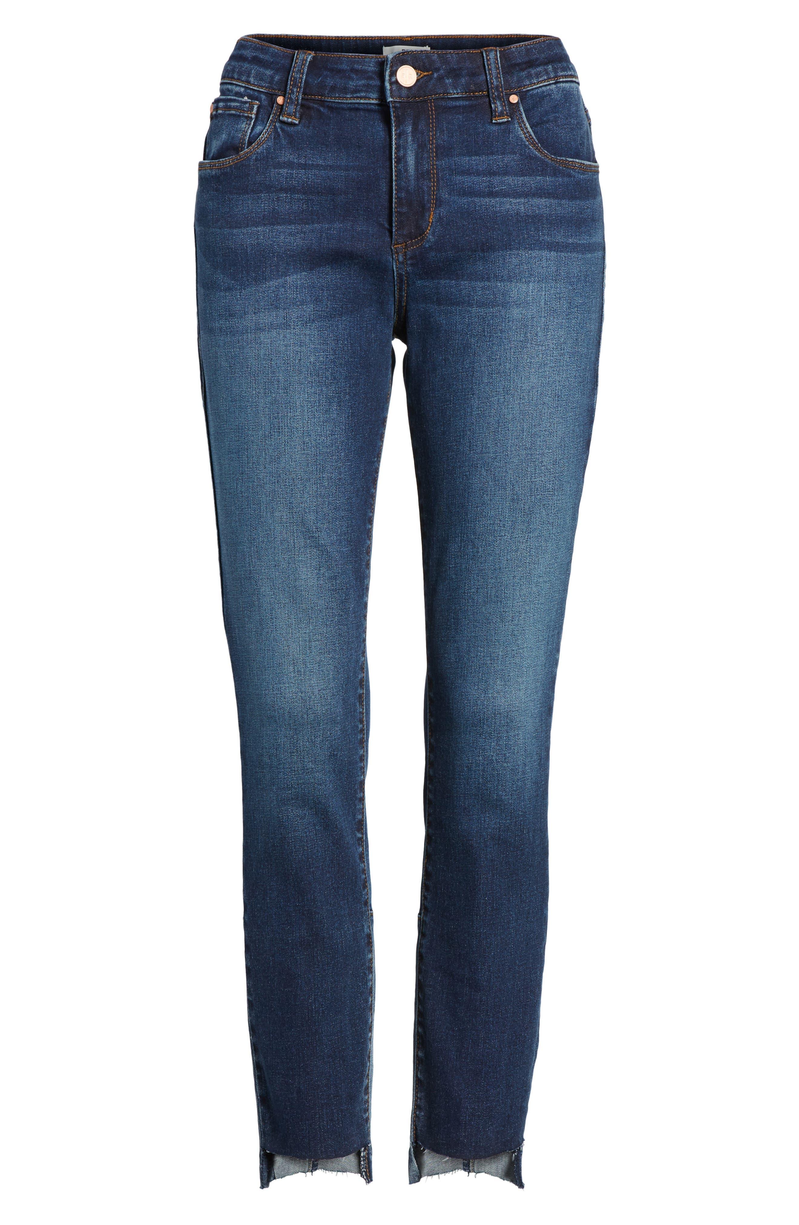 Patch Detail Step Hem Skinny Jeans,                             Alternate thumbnail 6, color,