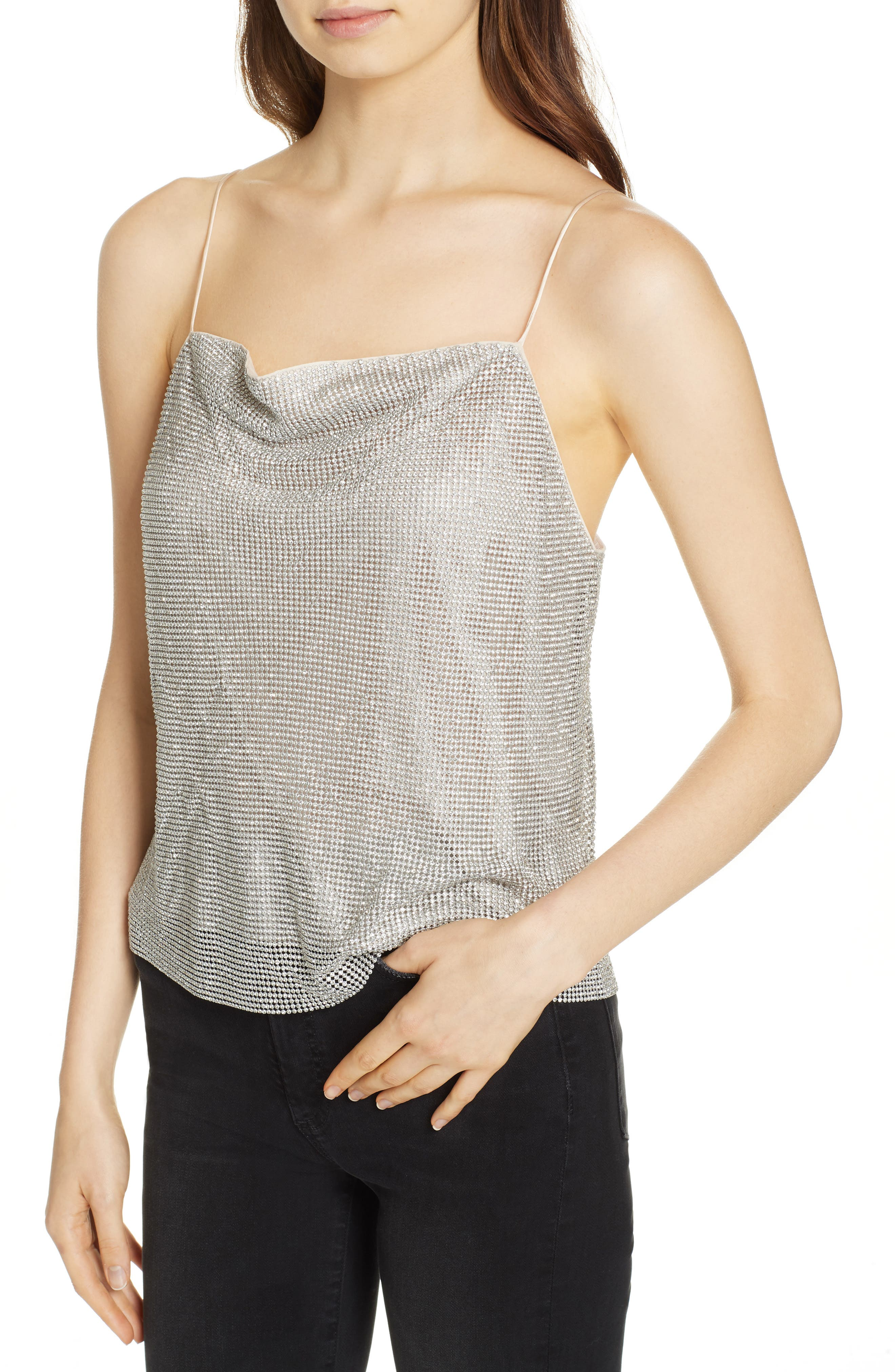 Harmon Crystal Chainmaille Camisole,                             Alternate thumbnail 4, color,                             SILVER/ CHAINMAIL