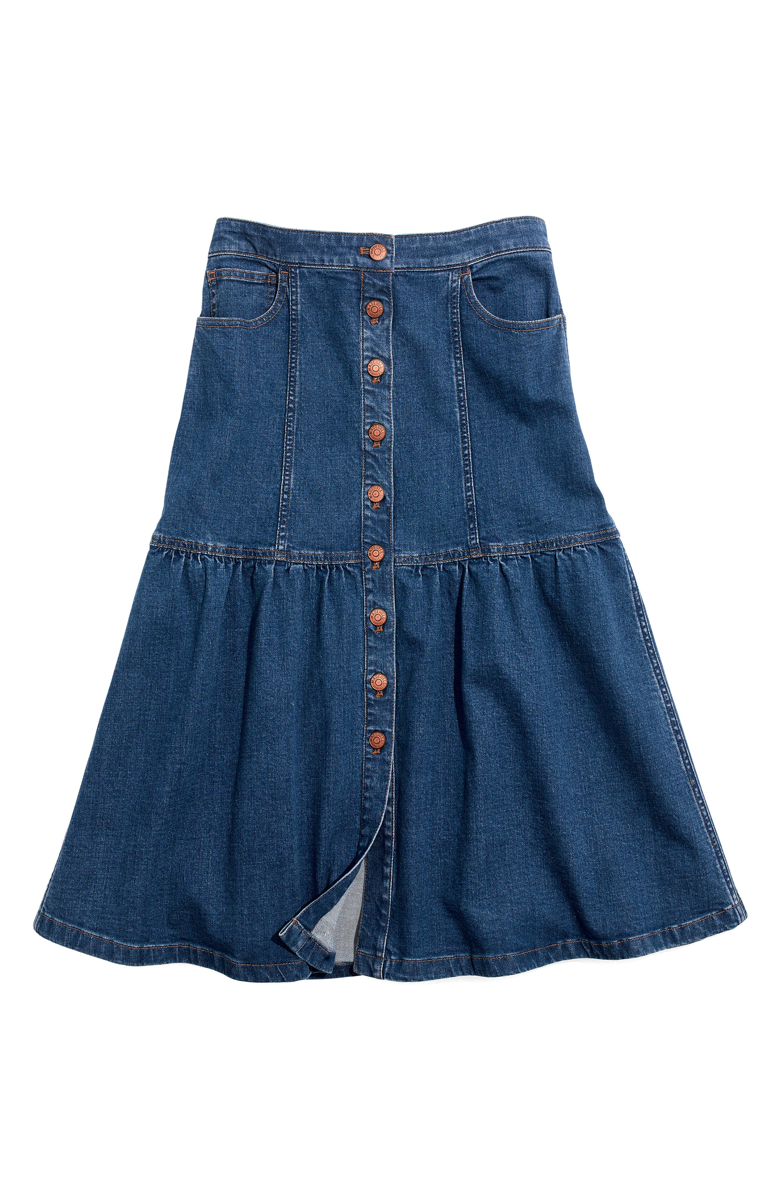 Bayview Tiered Denim Midi Skirt,                             Alternate thumbnail 3, color,                             400