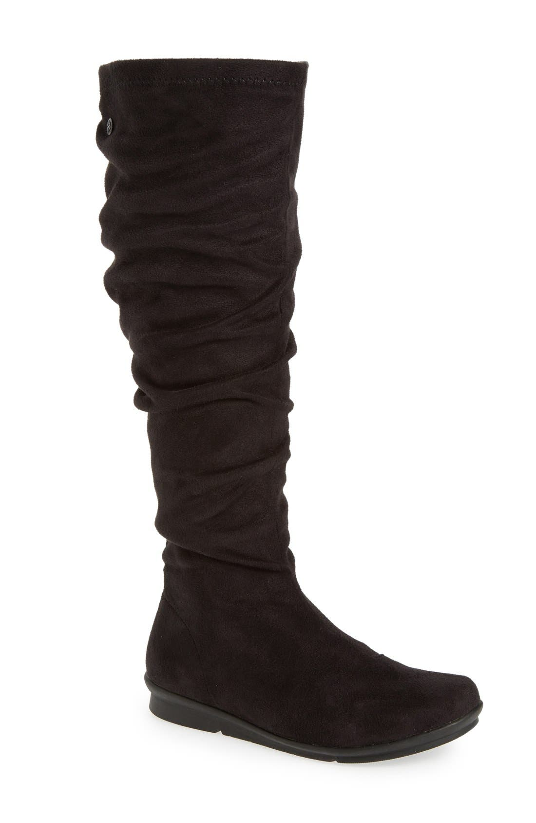 BUSSOLA 'Creta' Water Resistant Slouchy Knee-High Boot, Main, color, 001