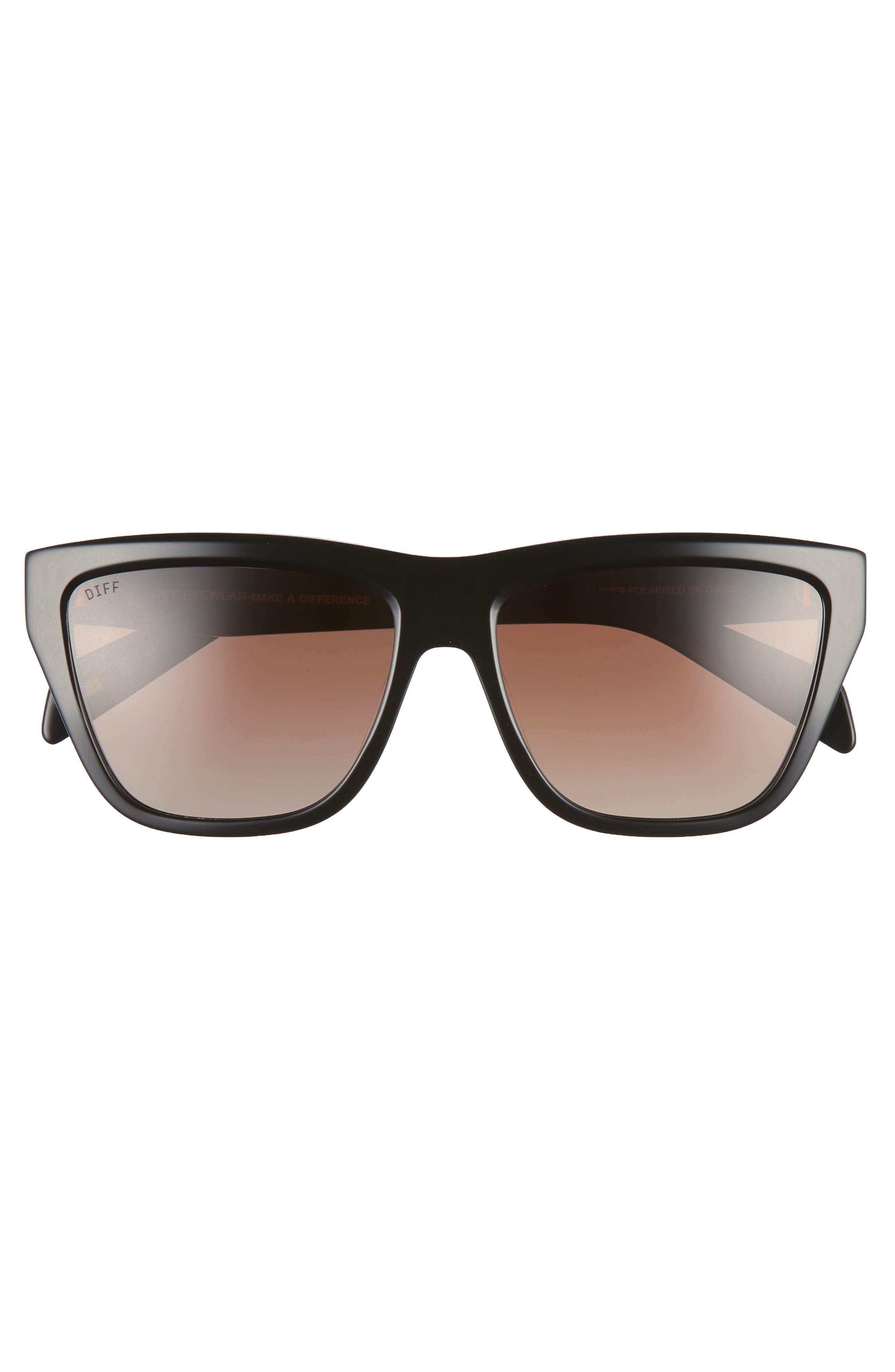 Harper 57mm Polarized Gradient Sunglasses,                             Alternate thumbnail 3, color,                             BLACK/ BROWN