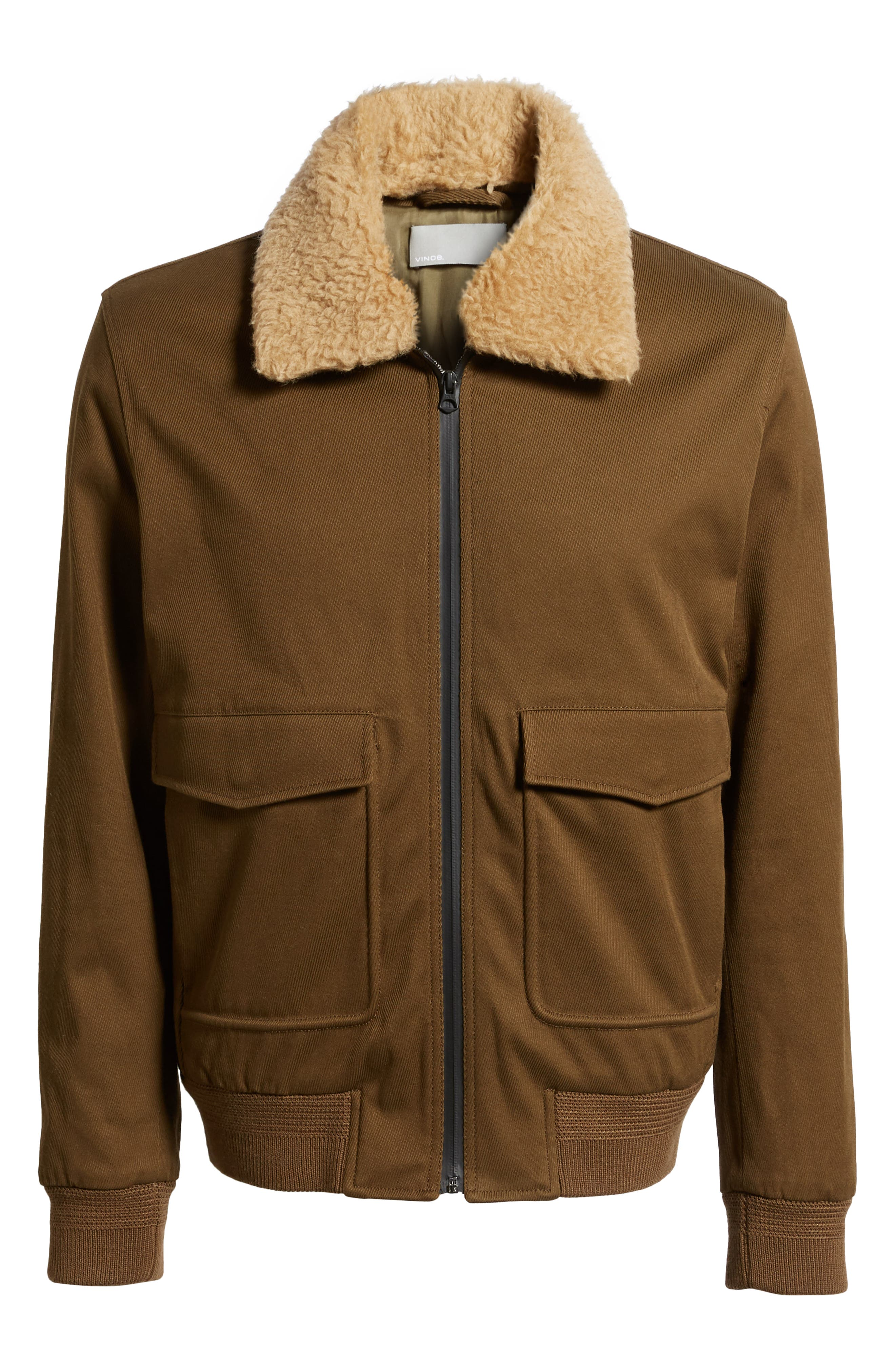 Regular Fit Bomber Jacket with Faux Shearling Collar,                             Alternate thumbnail 5, color,                             INFANTRY GREEN