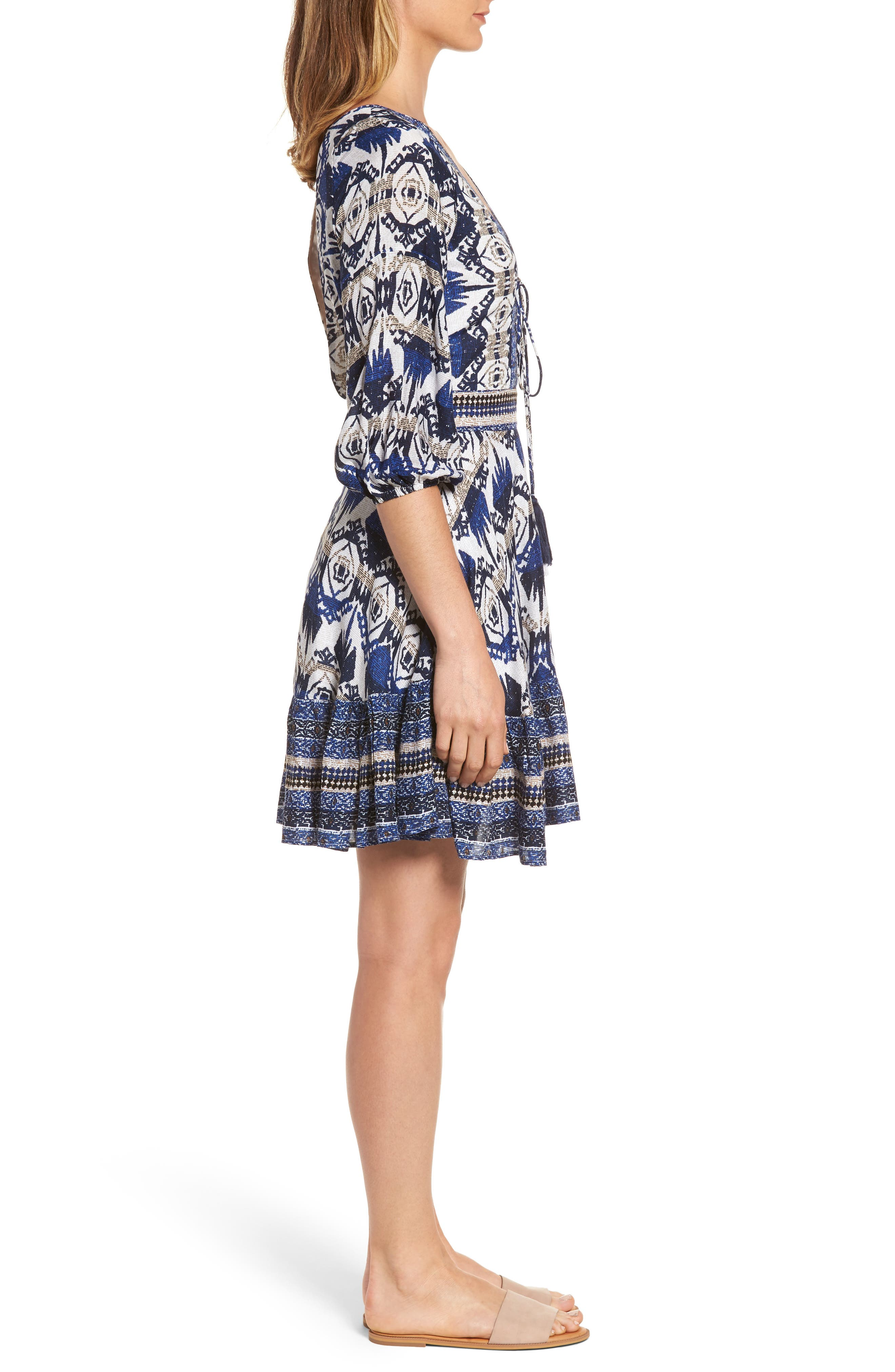 Camille Mixed Print Fit & Flare Dress,                             Alternate thumbnail 3, color,                             400