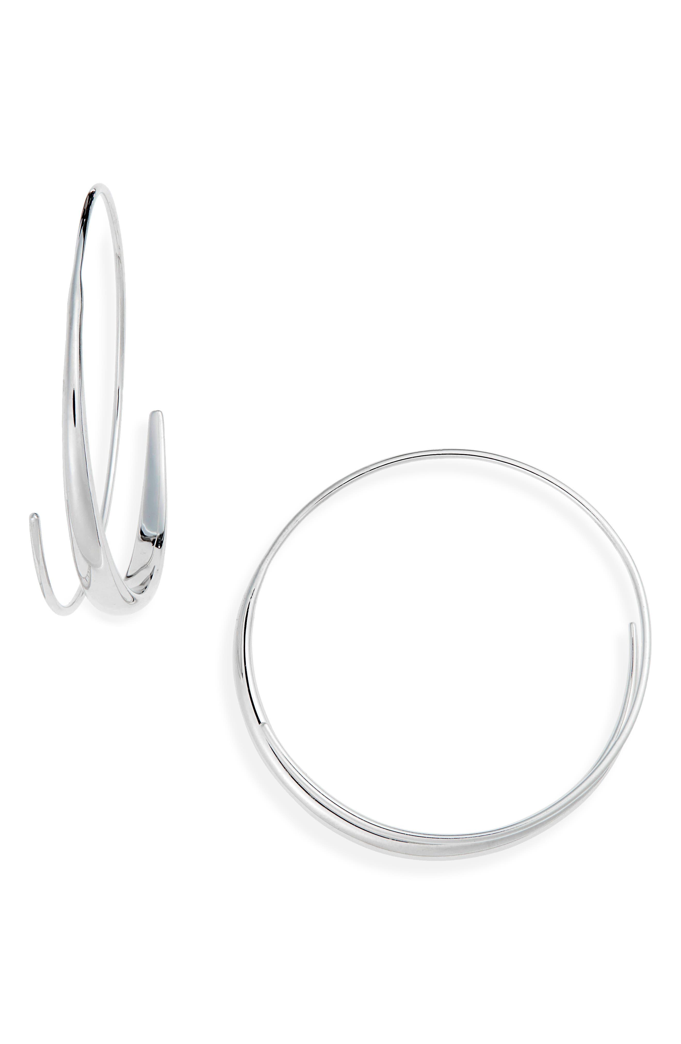 Large Ear Loop Earrings,                         Main,                         color, 925 STERLING SILVER