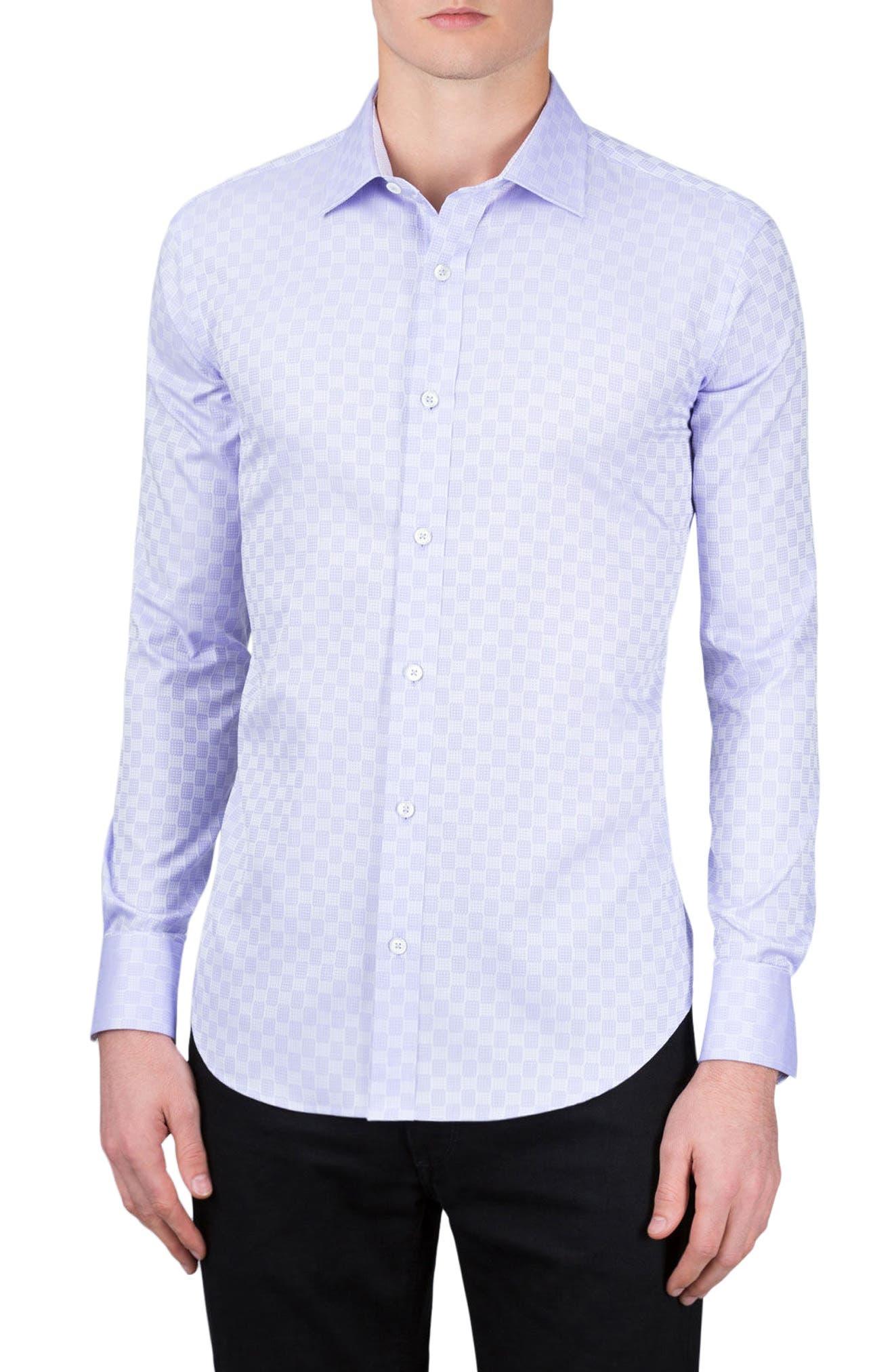 Shaped Fit Checker Print Sport Shirt,                             Main thumbnail 3, color,