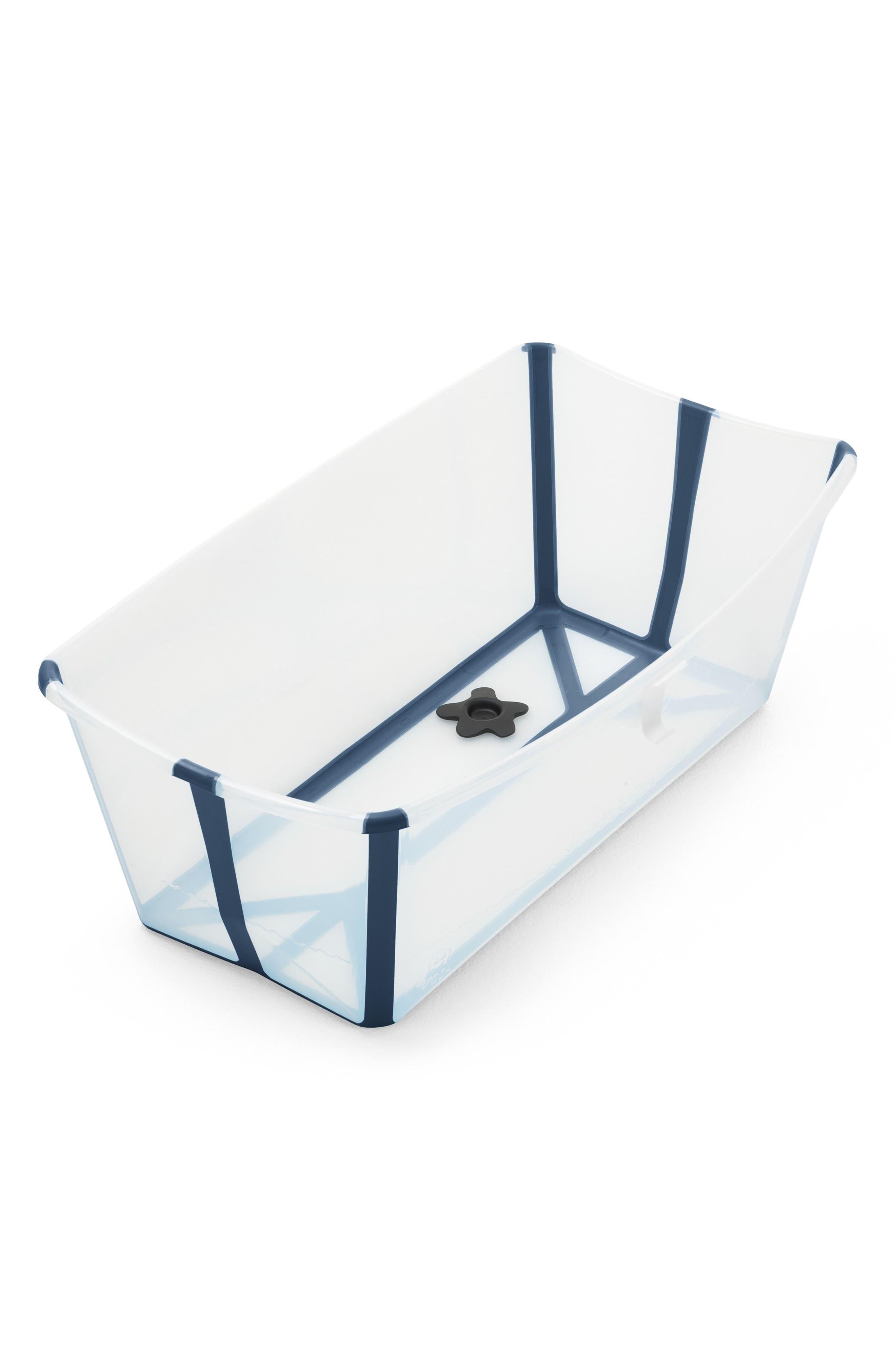 'Flexi Bath<sup>®</sup>' Foldable Baby Bathtub,                             Main thumbnail 1, color,                             TRANSPARENT BLUE