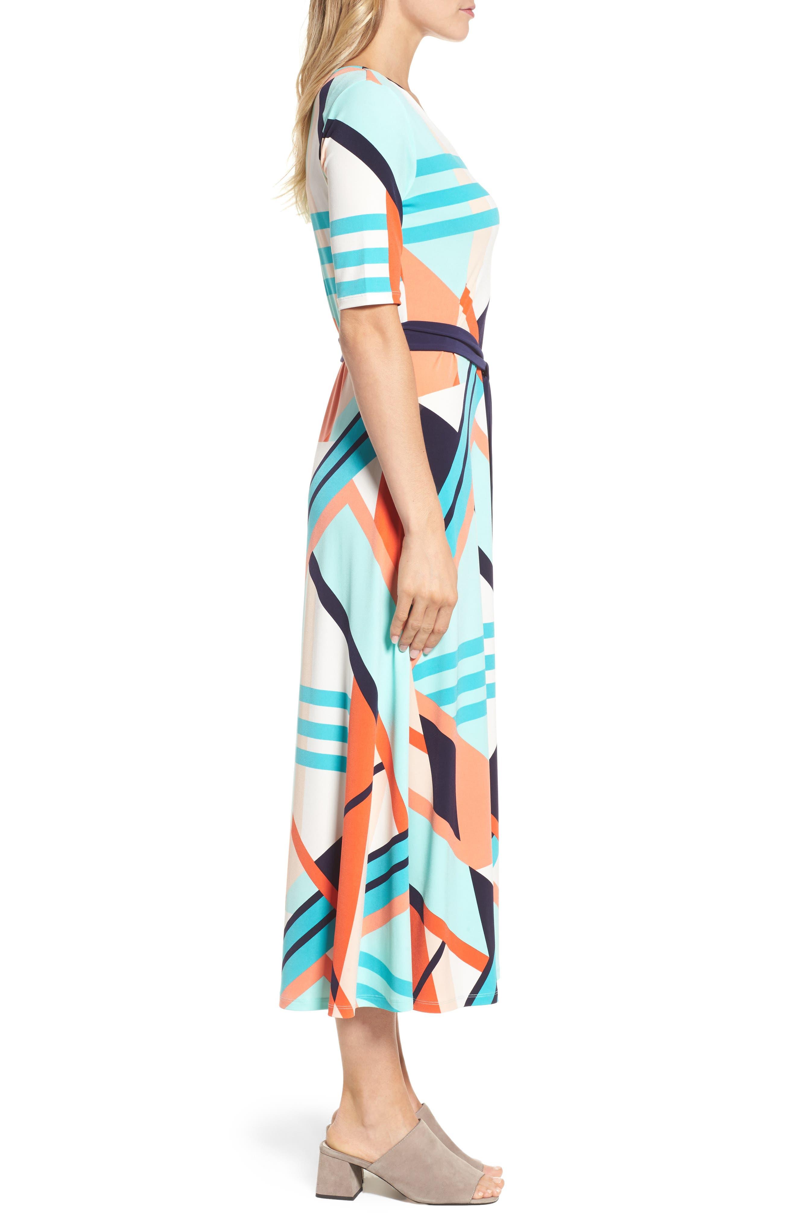 Belted Geo Print Midi Dress,                             Alternate thumbnail 3, color,