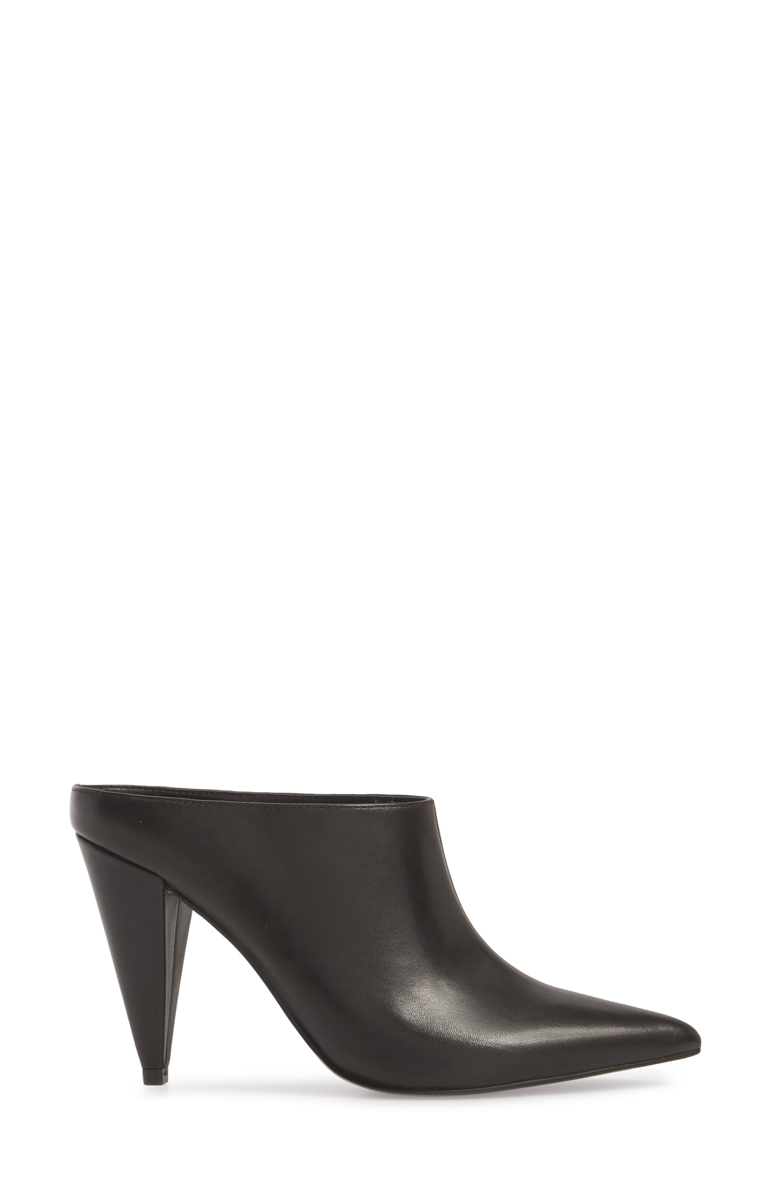 Harlie Pointy Toe Mule,                             Alternate thumbnail 3, color,                             BLACK LEATHER