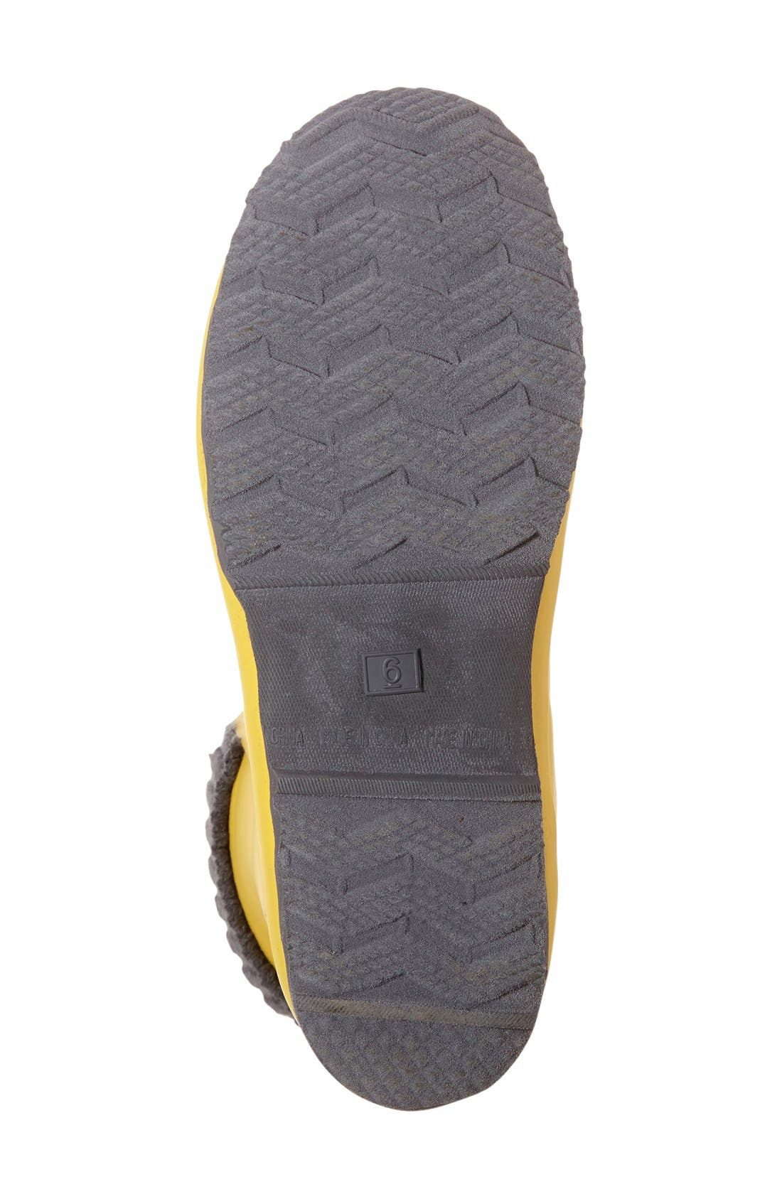 Lace-Up Weatherproof Rain Boot,                             Alternate thumbnail 4, color,                             BUTTER YELLOW